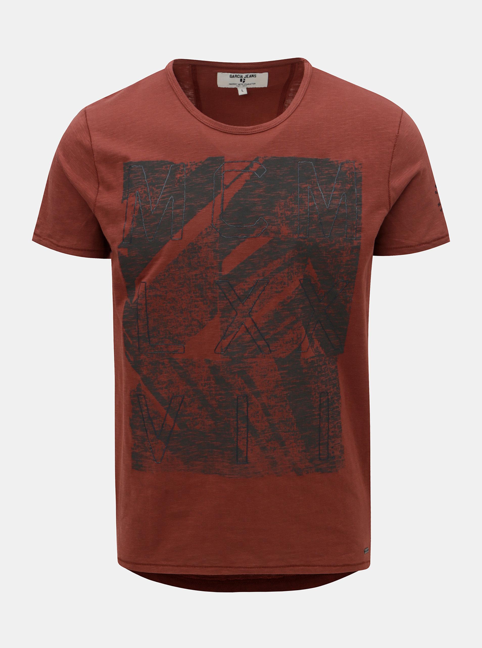 Červené pánské tričko s potiskem Garcia Jeans