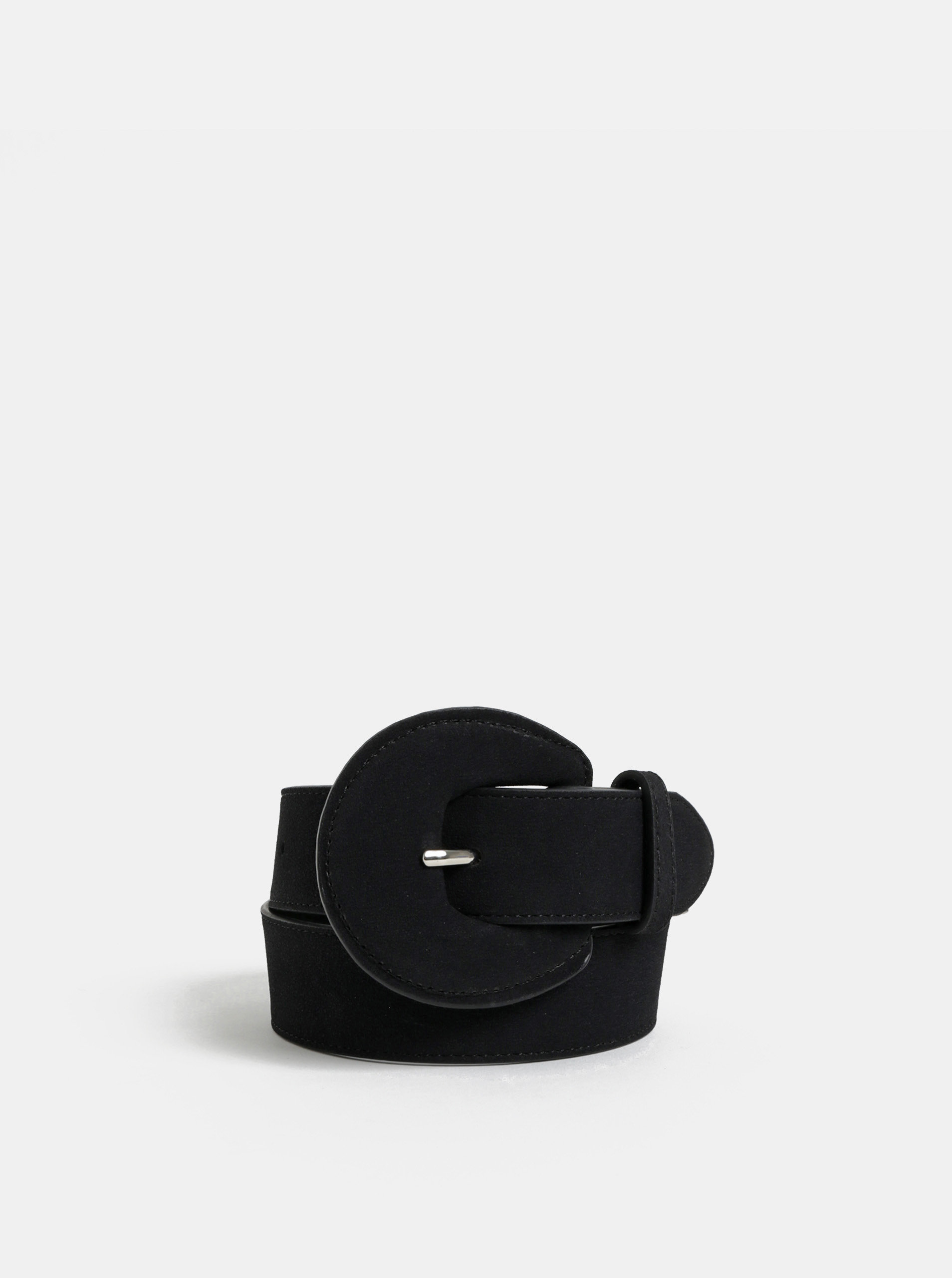 Černý pásek s výraznou přezkou Pieces Twila