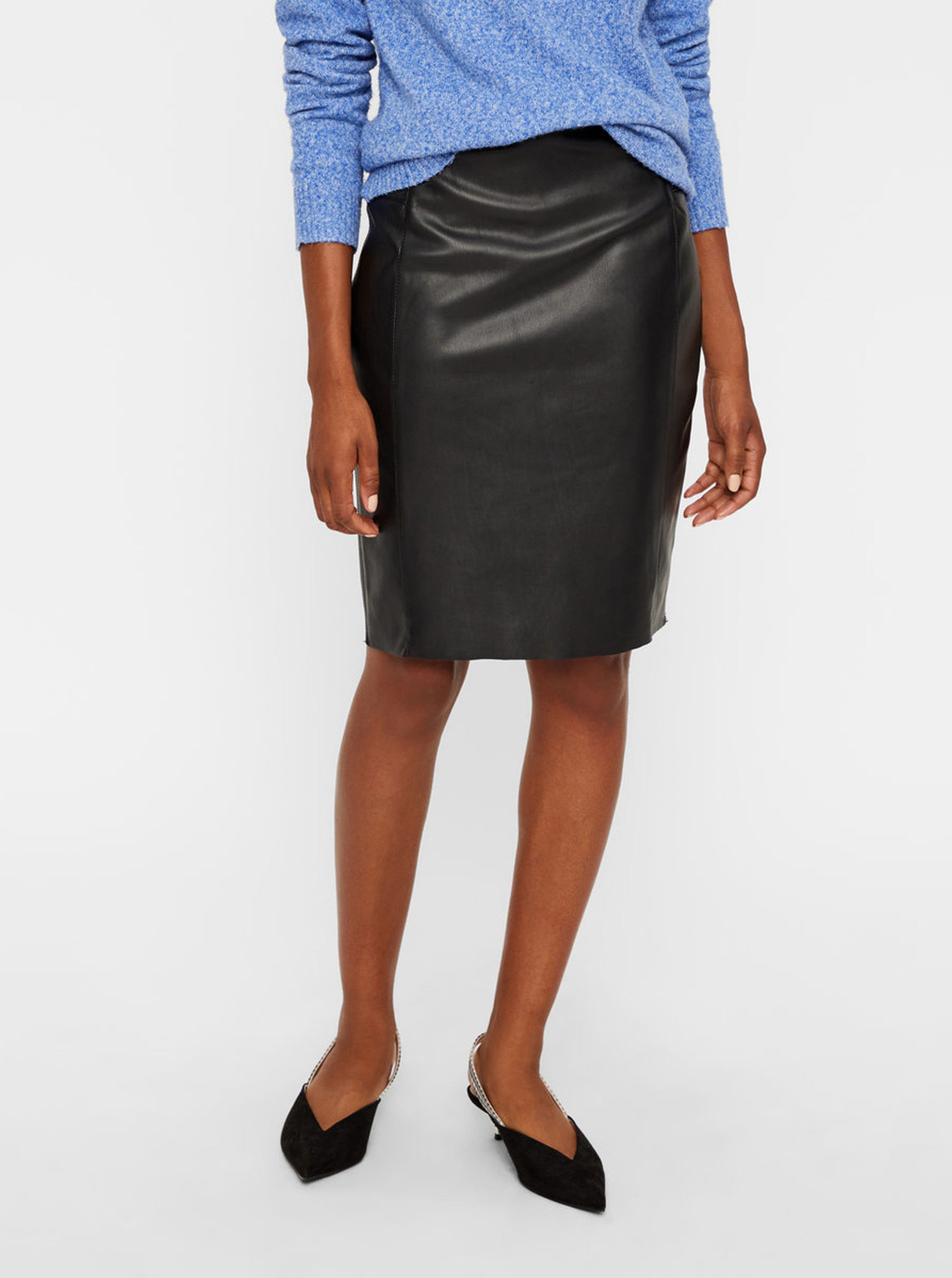Černá koženková sukně do pasu VERO MODA