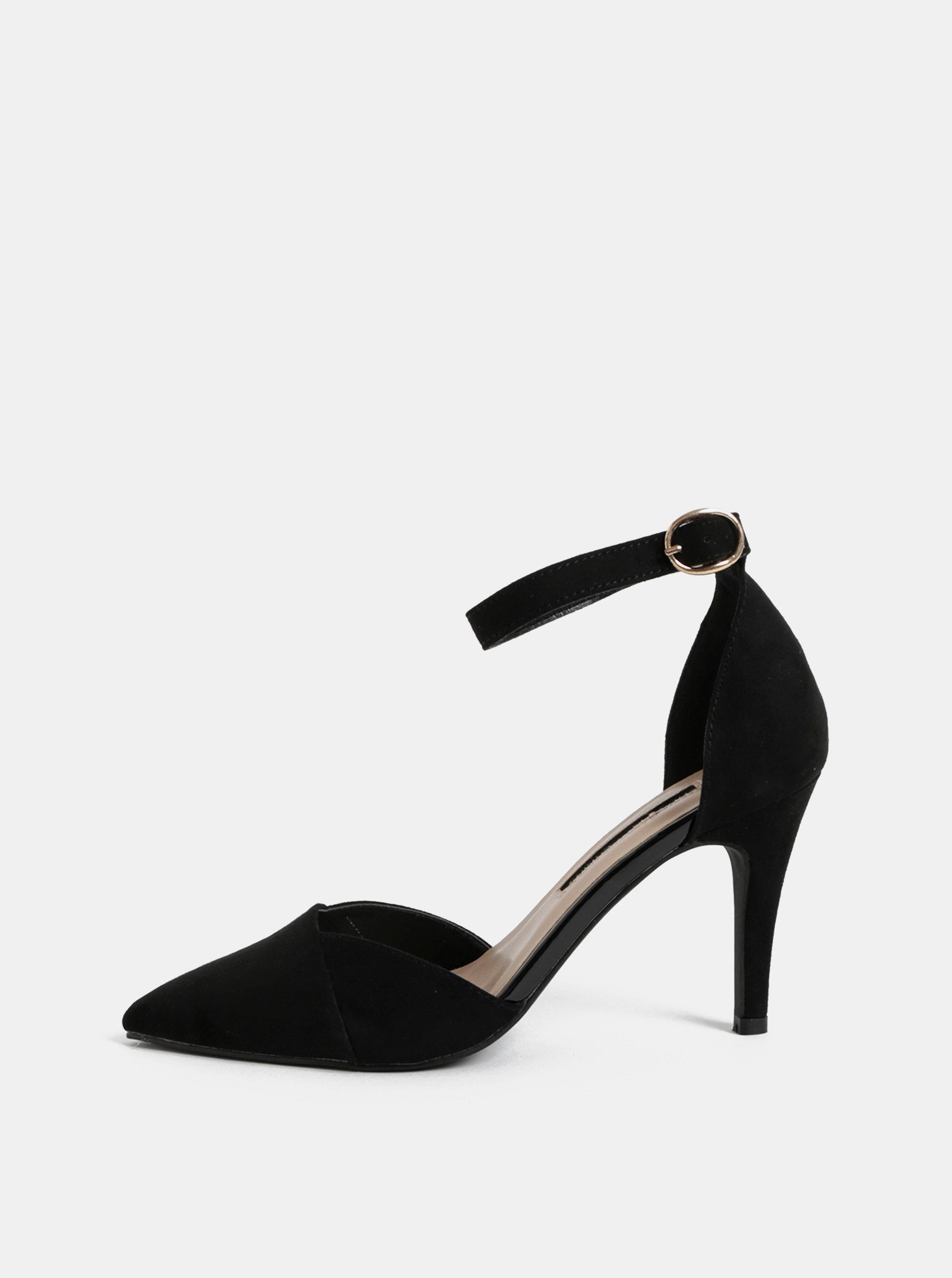 Černé sandály v semišové úpravě s plnou špičkou Dorothy Perkins Georgia