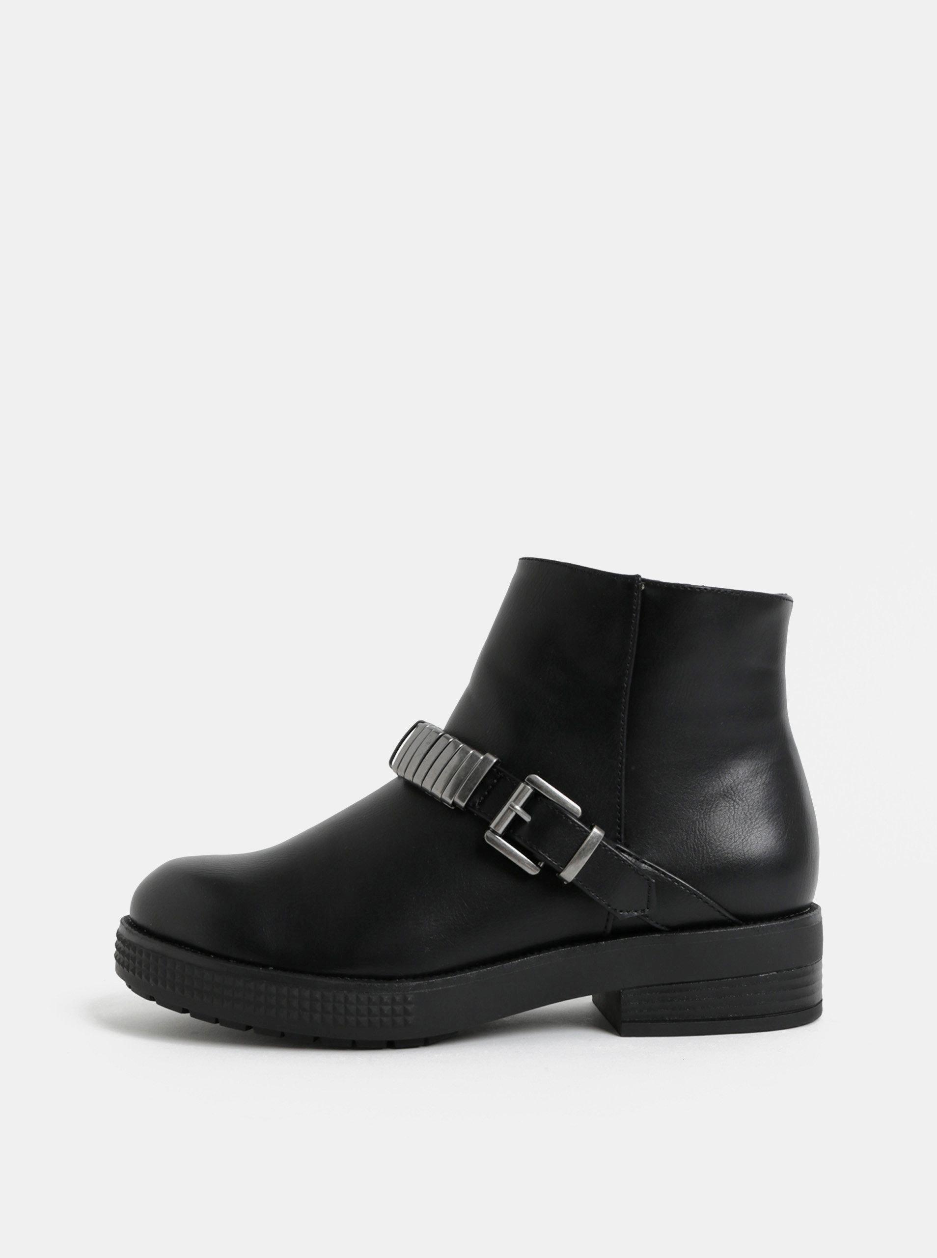 Černé kotníkové boty s přezkou Pieces Dawn