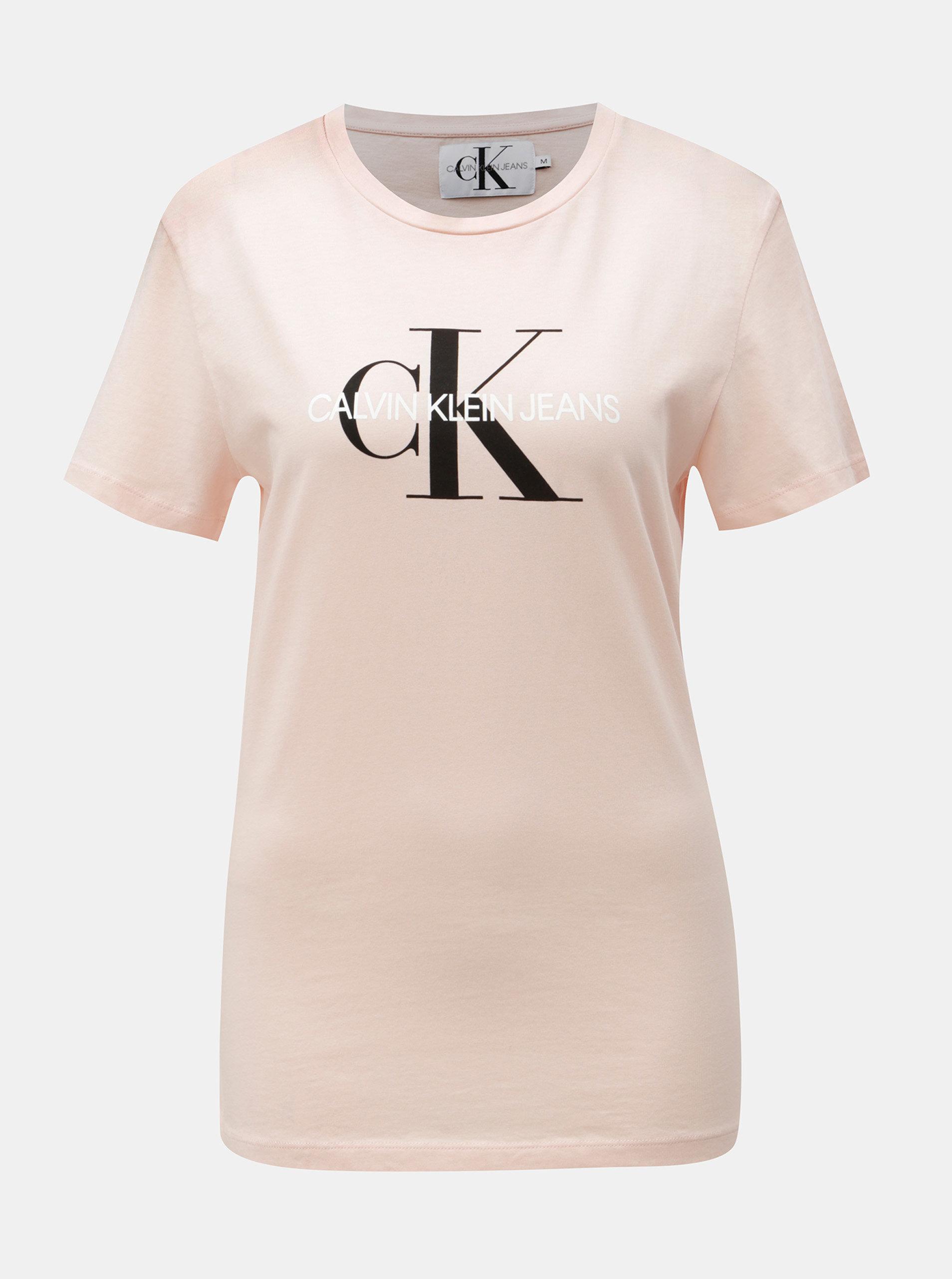 a7d40bba131 Růžové dámské tričko s potiskem Calvin Klein Jeans ...