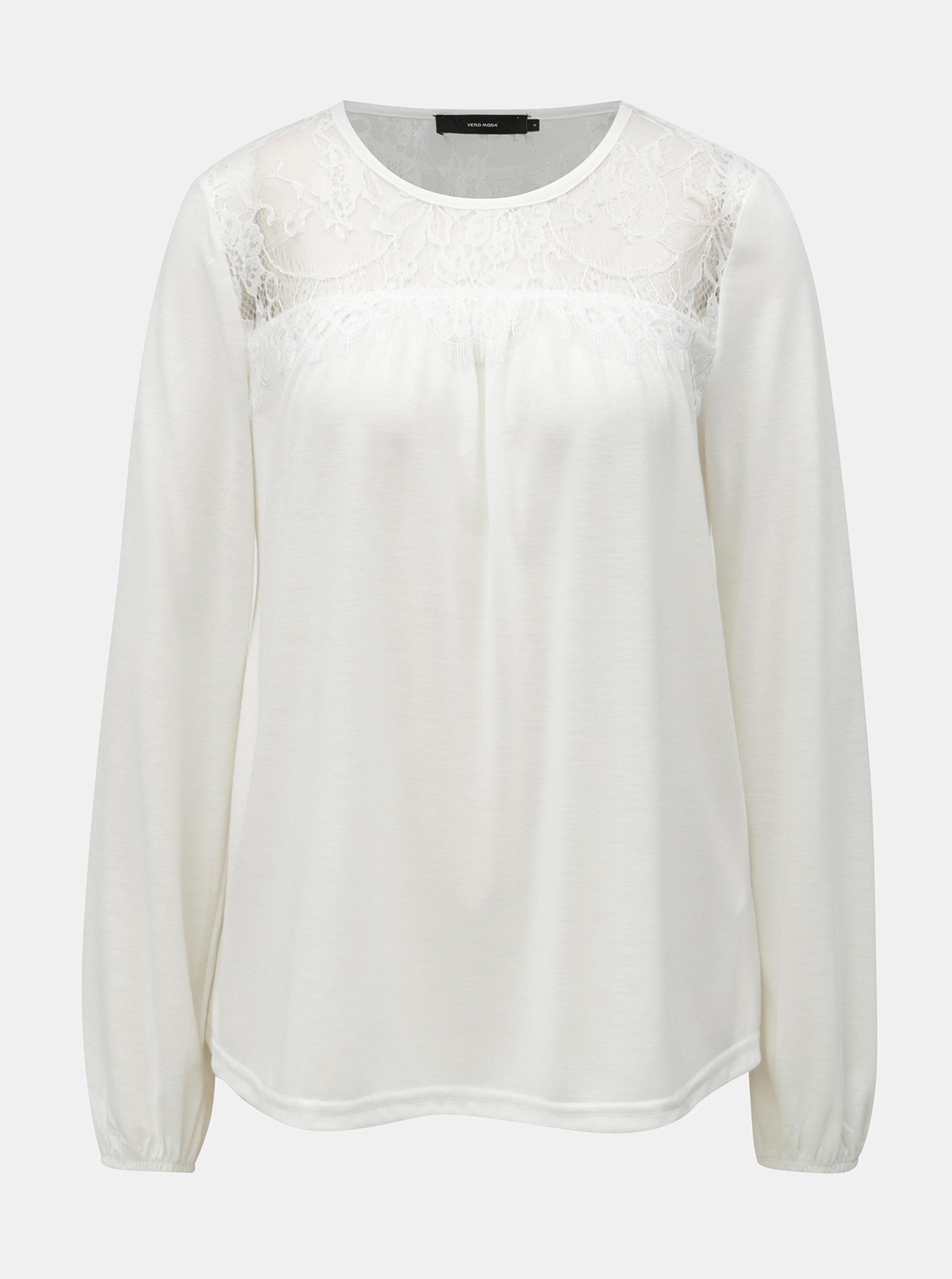 80a05d40a2 Bílé tričko s krajkovým sedlem VERO MODA ...