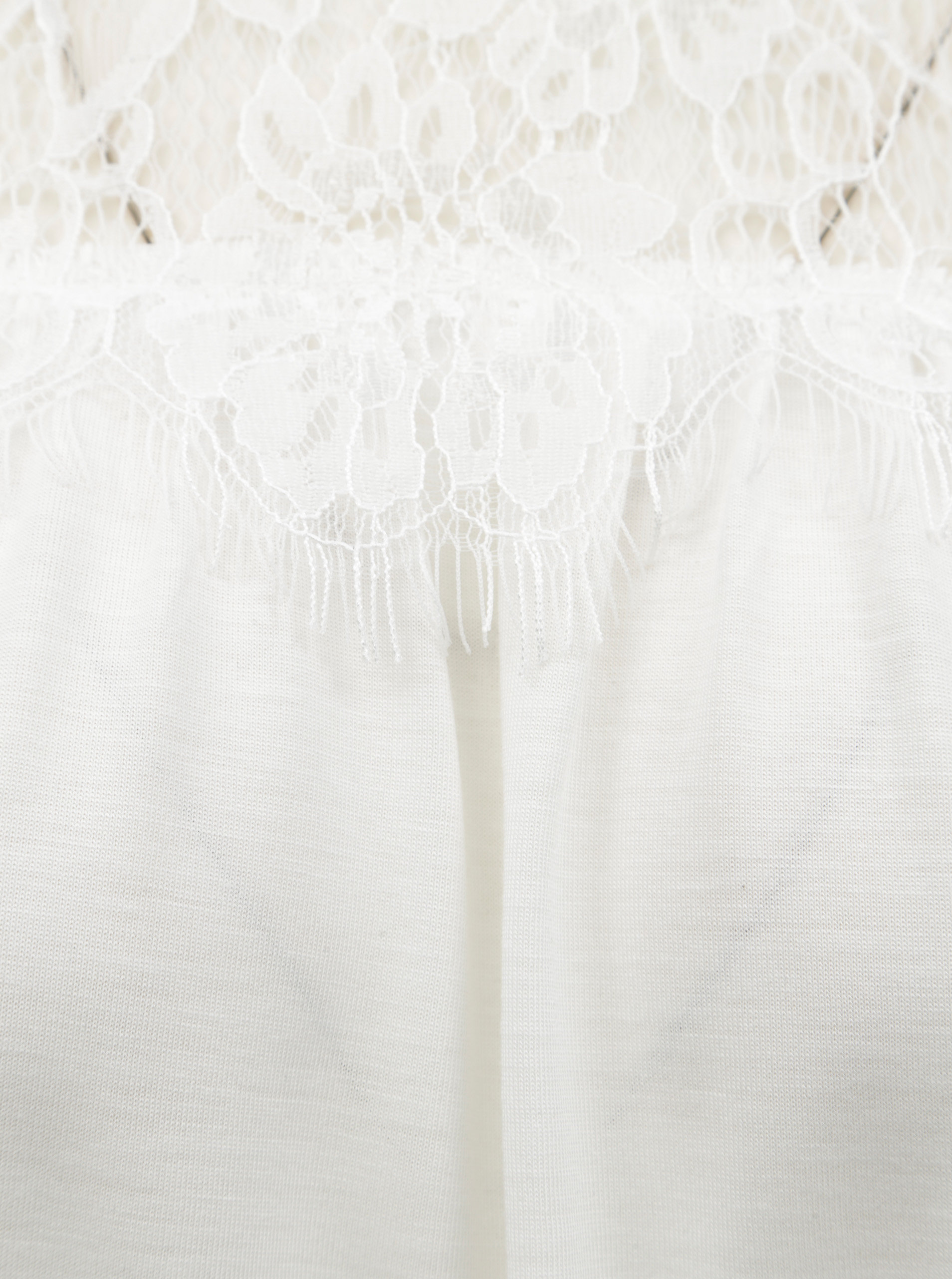 809ae3ecc4 Biele tričko s čipkovaným sedlom VERO MODA ...