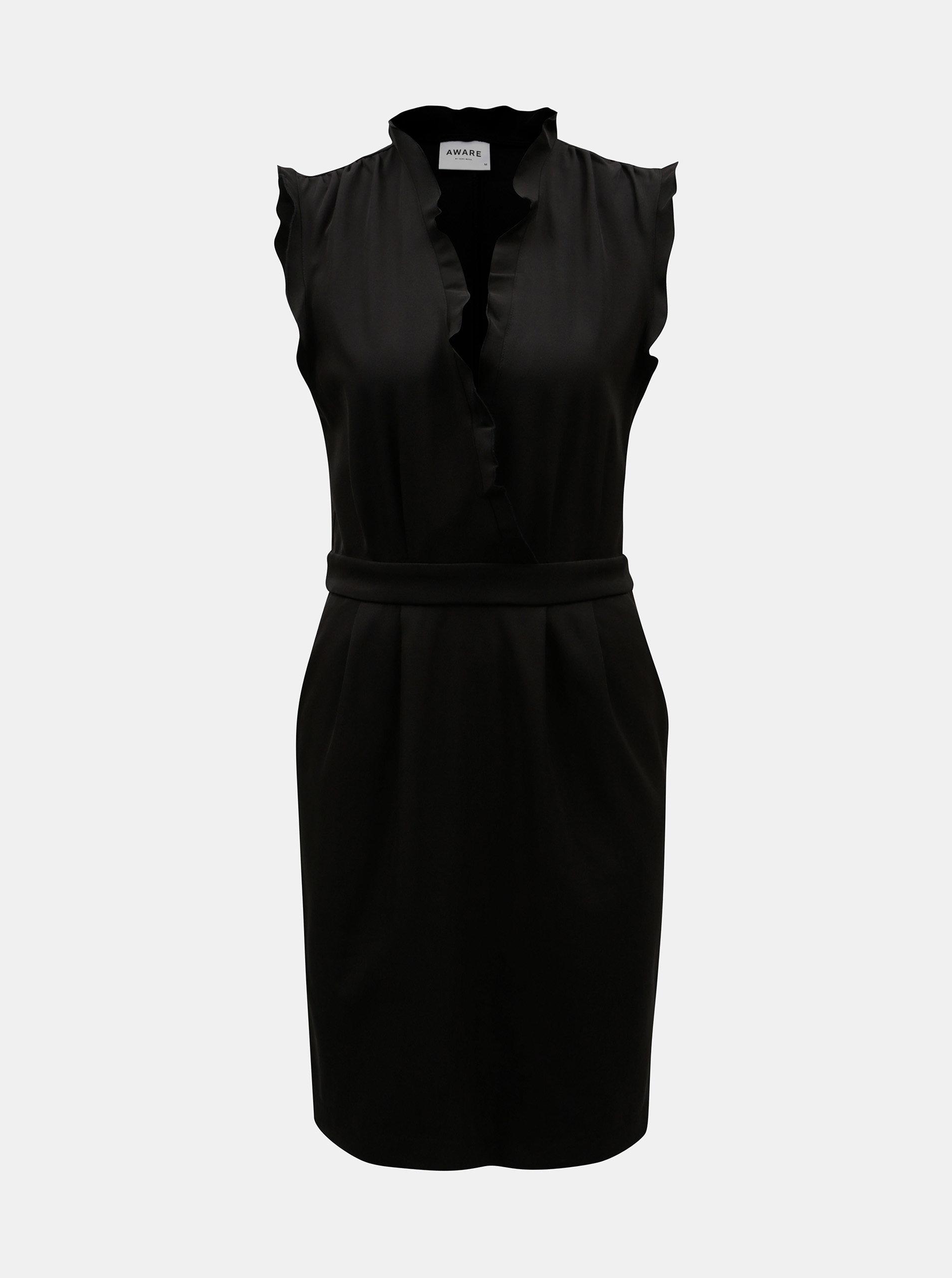 Černé šaty s hlubokým překládaným výstřihem VERO MODA