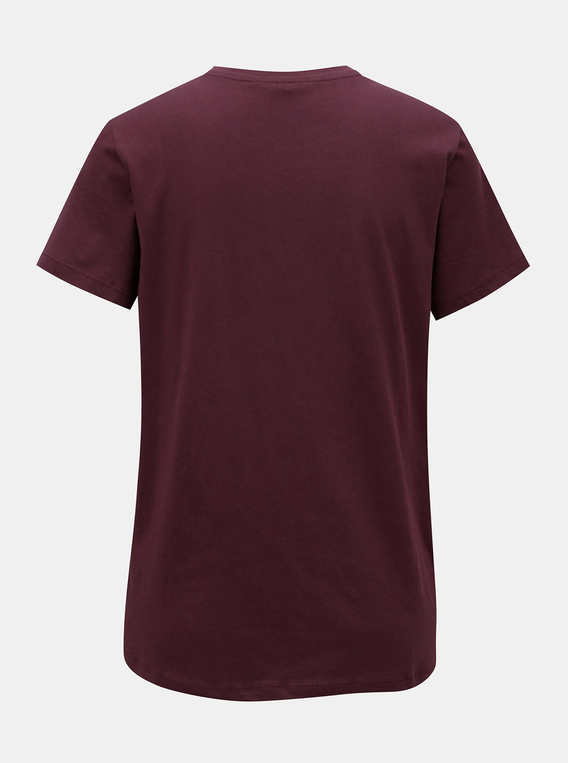 406fff9438d2 Vínové tričko s aplikací VERO MODA ...