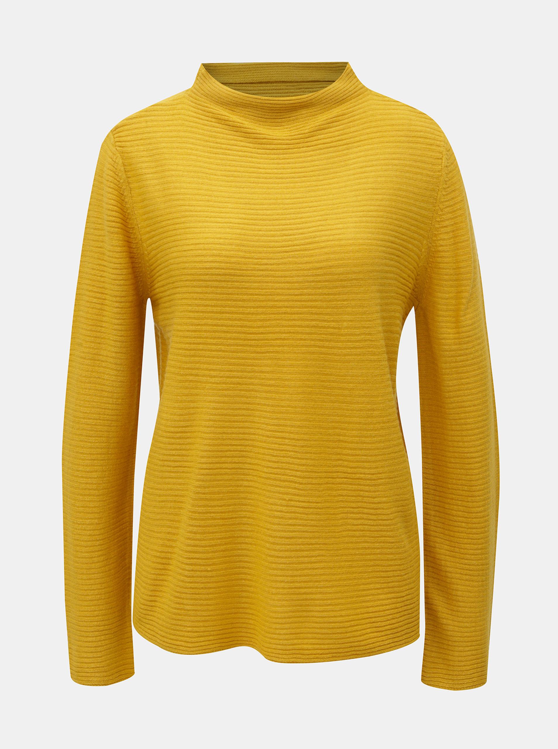 Žlutý žebrovaný svetr se stojáčkem Jacqueline de Yong