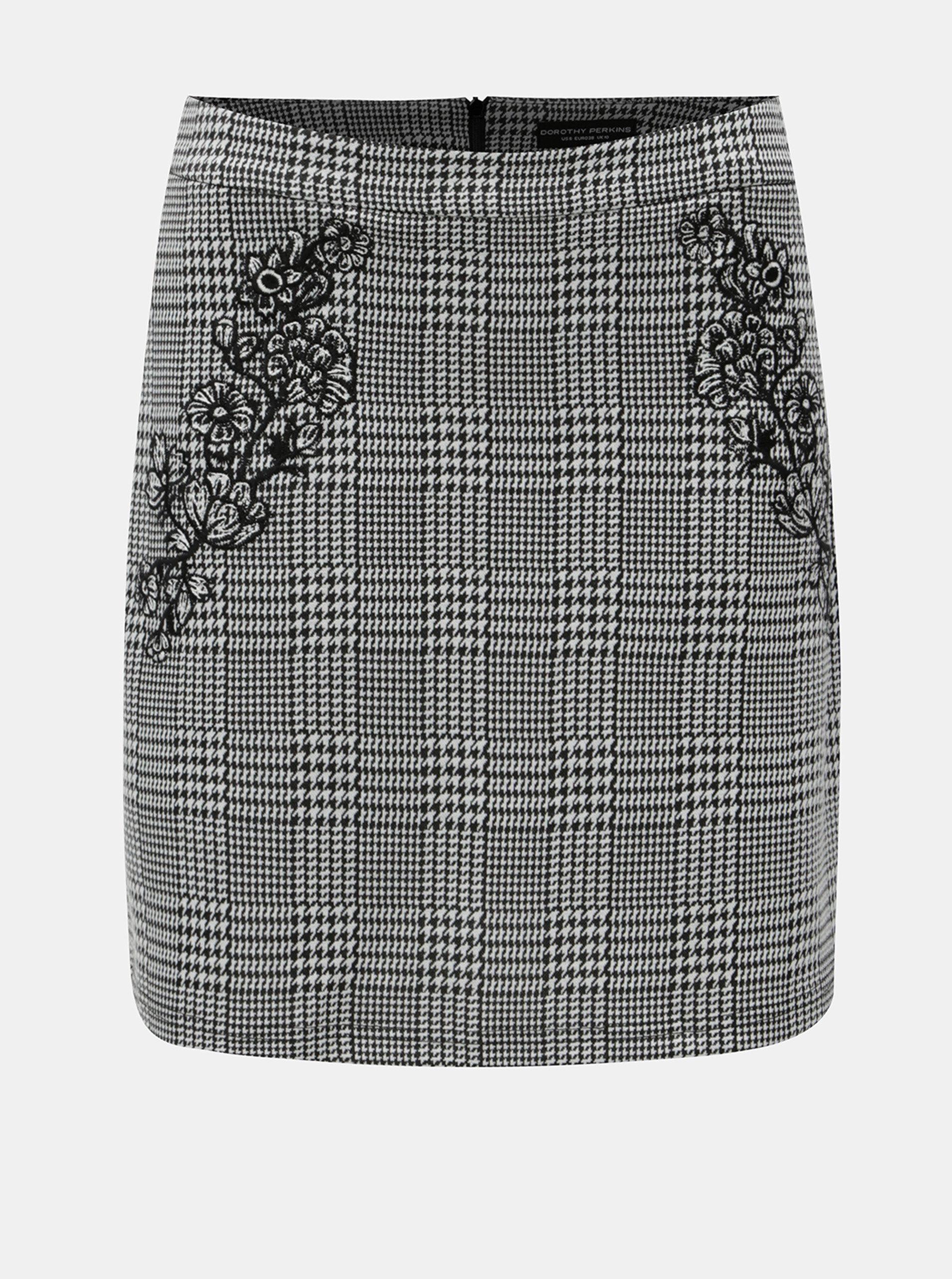 Černo-bílá vzorovaná sukně s výšivkou Dorothy Perkins