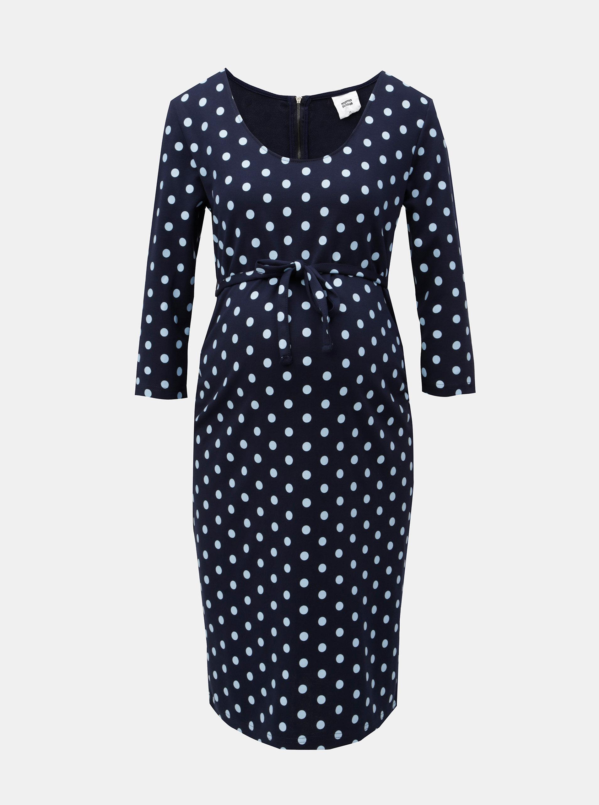 Tmavě modré těhotenské puntíkované šaty Mama.licious Blackie