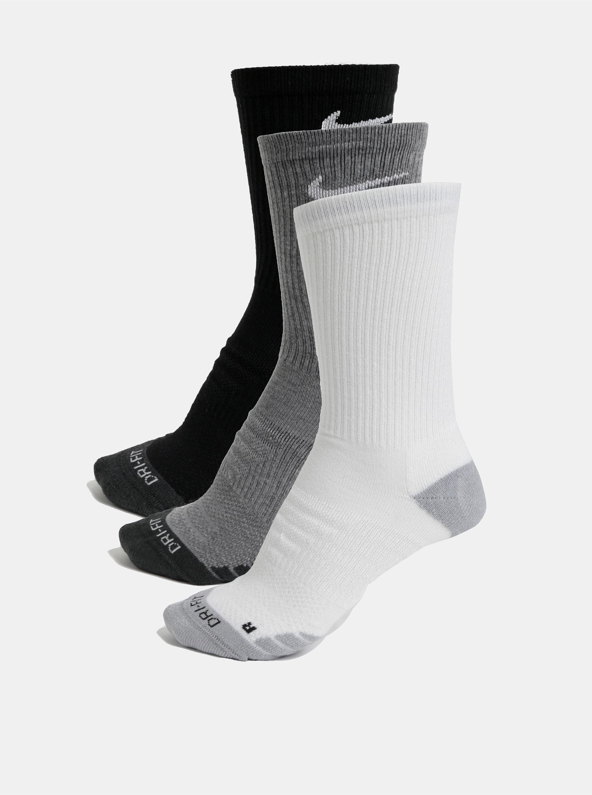 Sada tří párů unisex funkčních ponožek v černé a bílé barvě Nike Everyday  ... 4ca68f3328