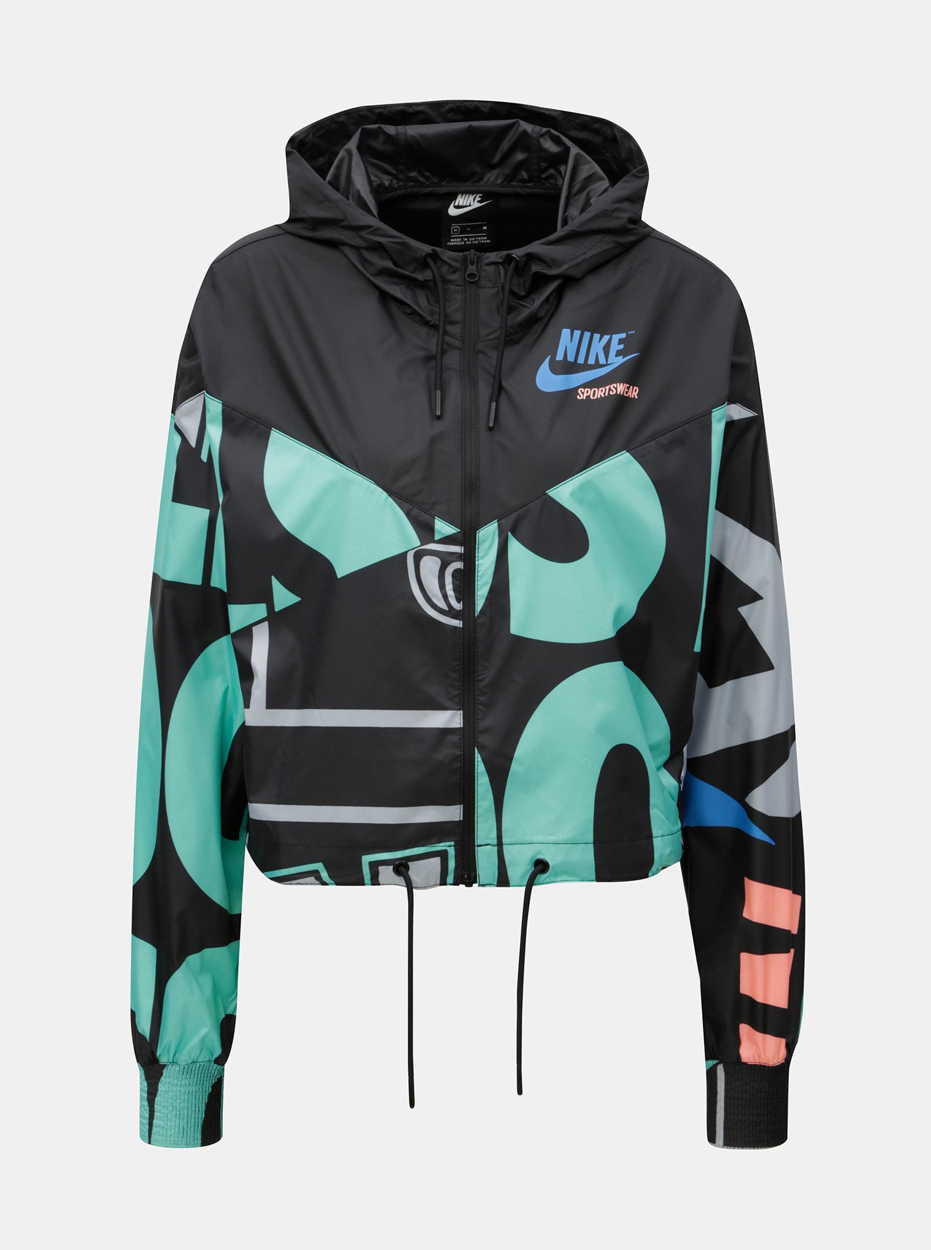Zeleno-černá dámská krátká vzorovaná bunda Nike ... 624cef6c49