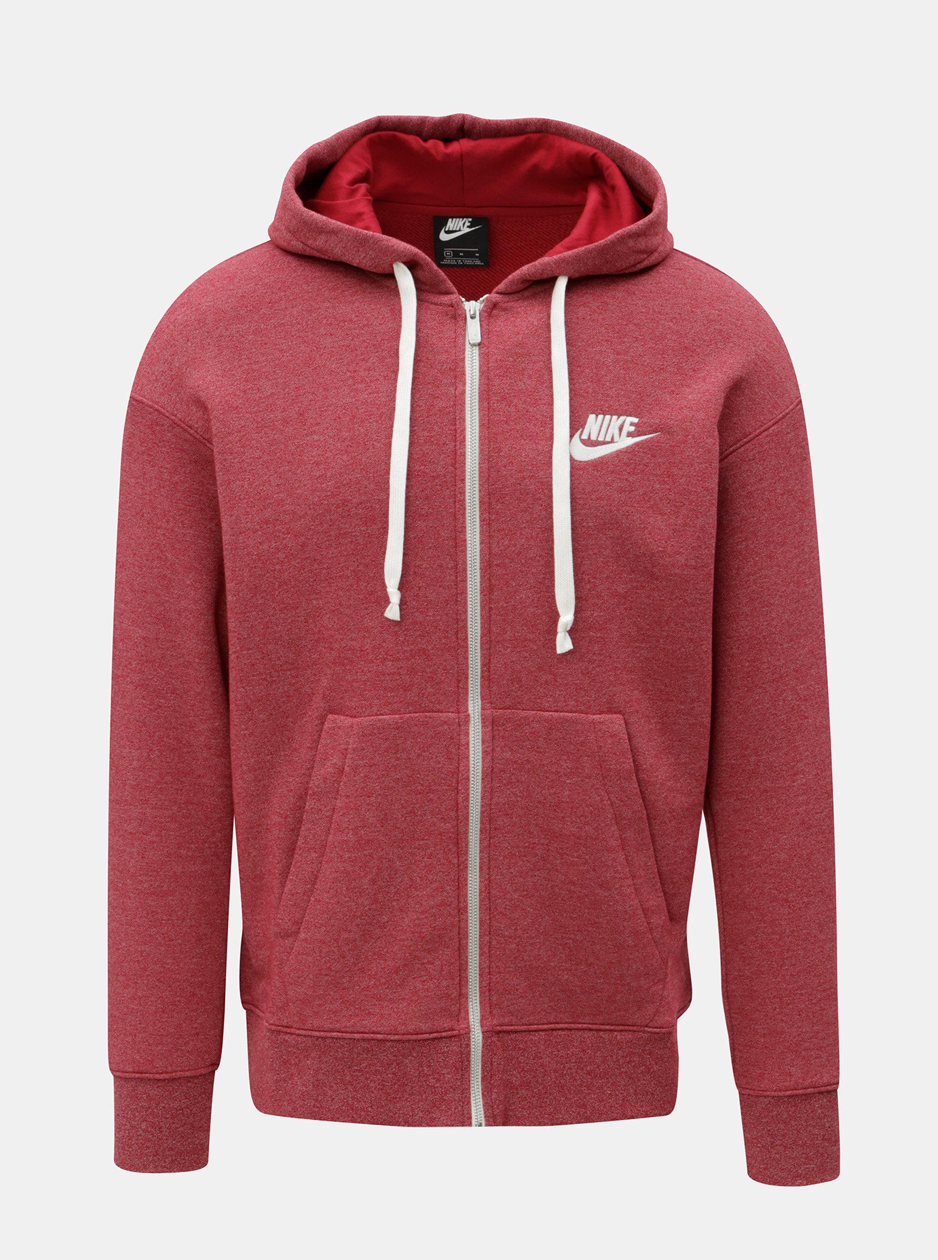 08d8d7d351 Červená pánská žíhaná mikina Nike Heritage ...