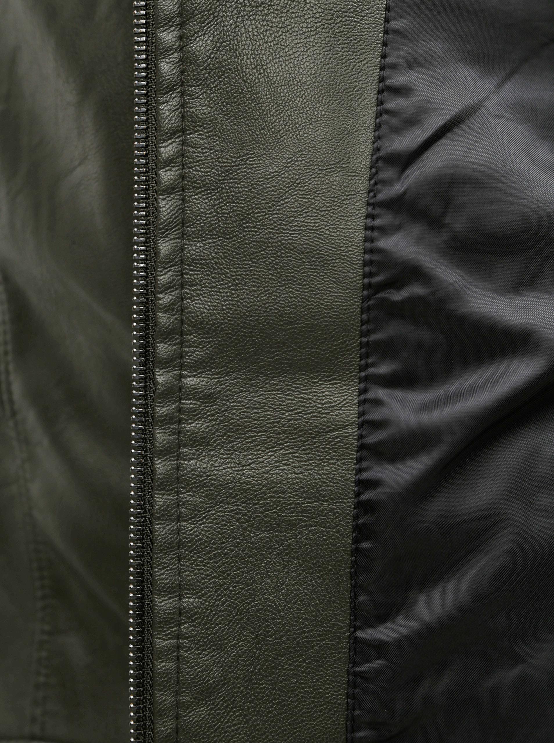 Kaki koženková bunda VERO MODA ... d99be9c4760