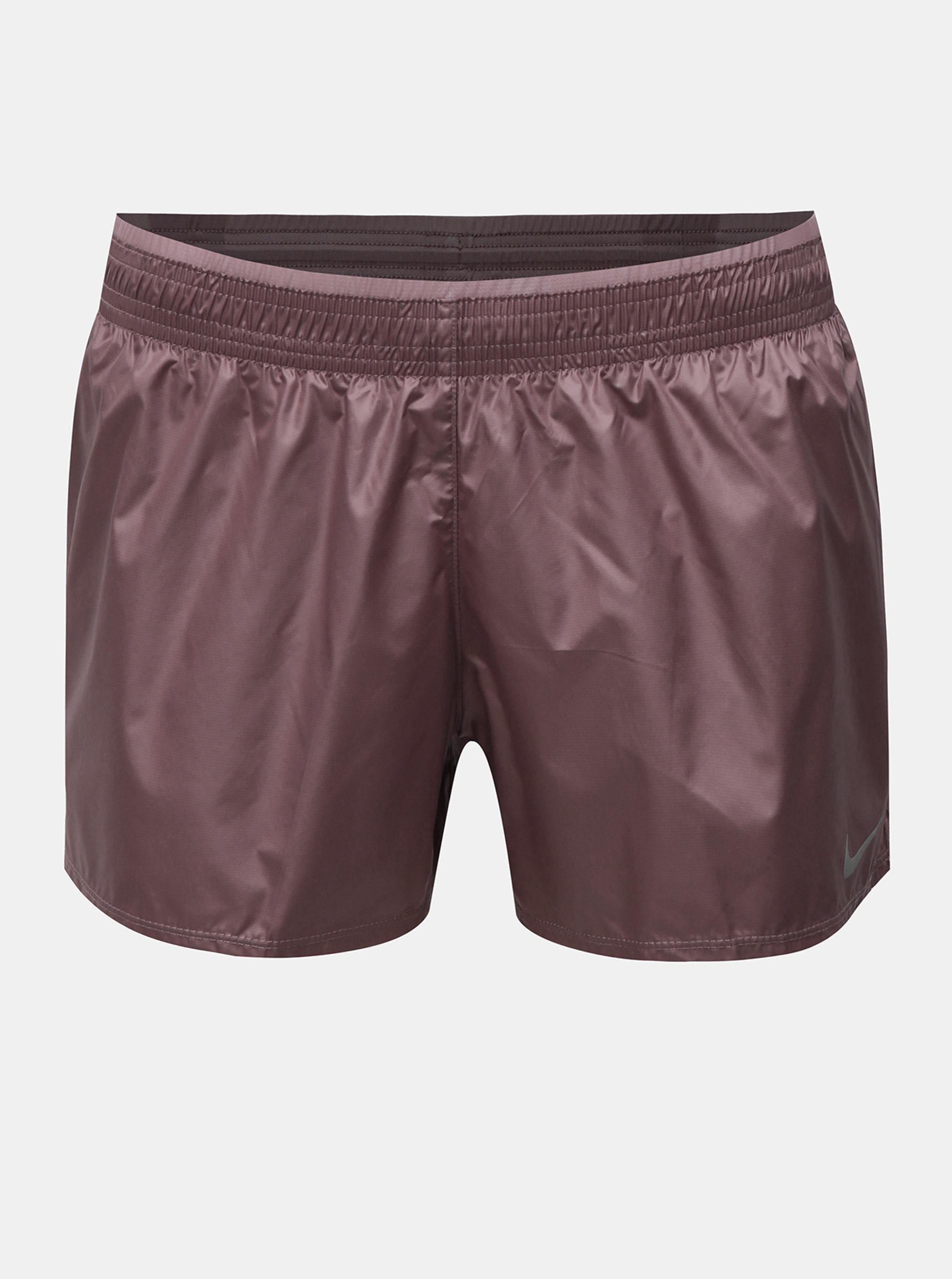 Starorůžové dámské funkční šusťákové kraťasy s všitou kalhotkovou částí Nike Cire