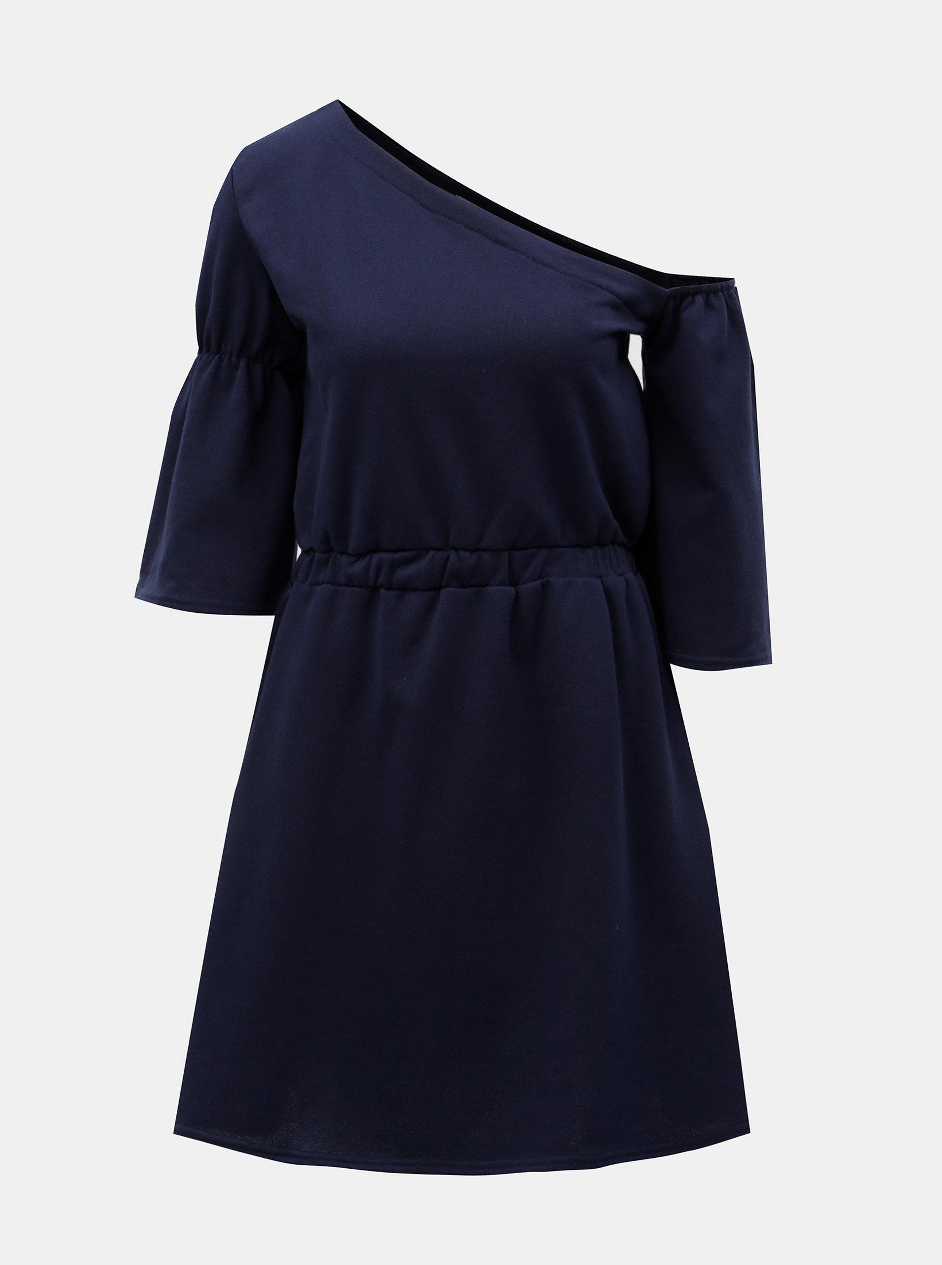 Tmavě modré šaty s asymetrickým výstřihem ELVI