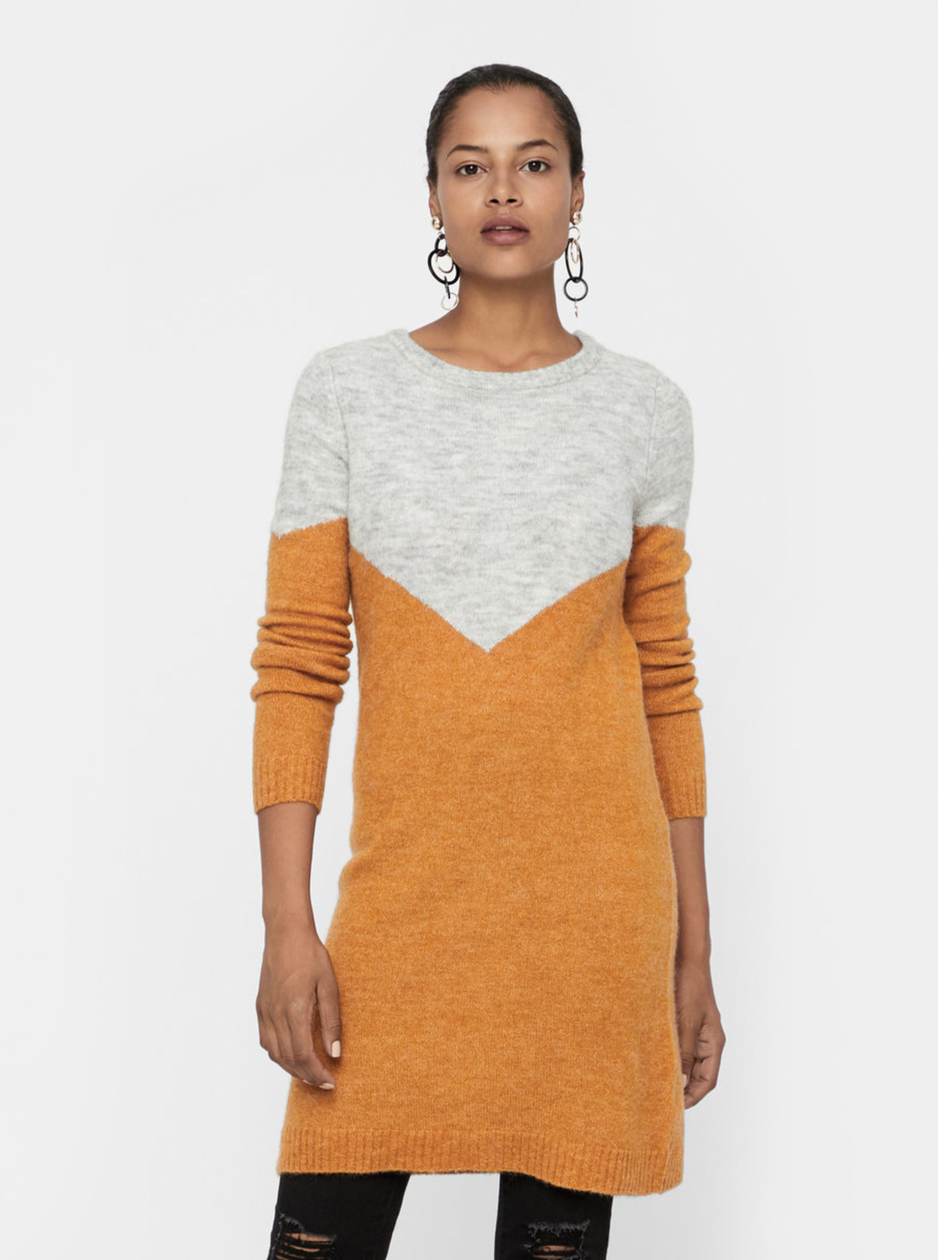 Šedo-hnědé žíhané svetrové šaty s příměsí vlny VERO MODA