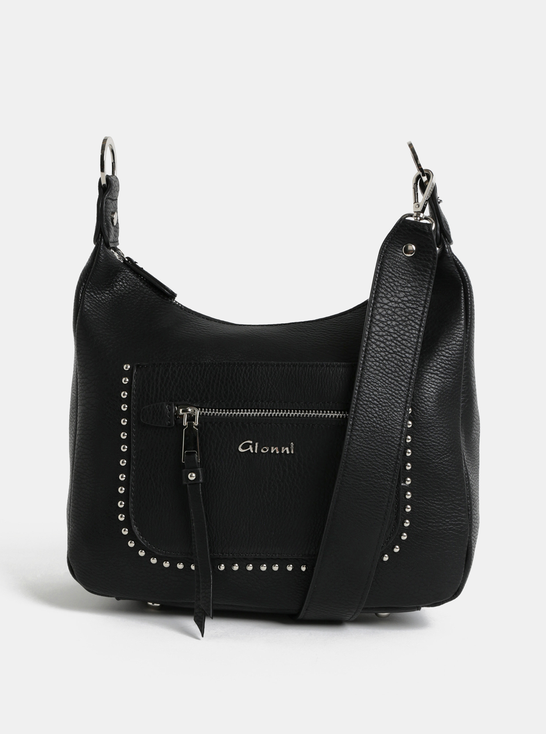 Čierna crossbody kabelka s detailmi v striebornej farbe Gionni ... 05aecada28b