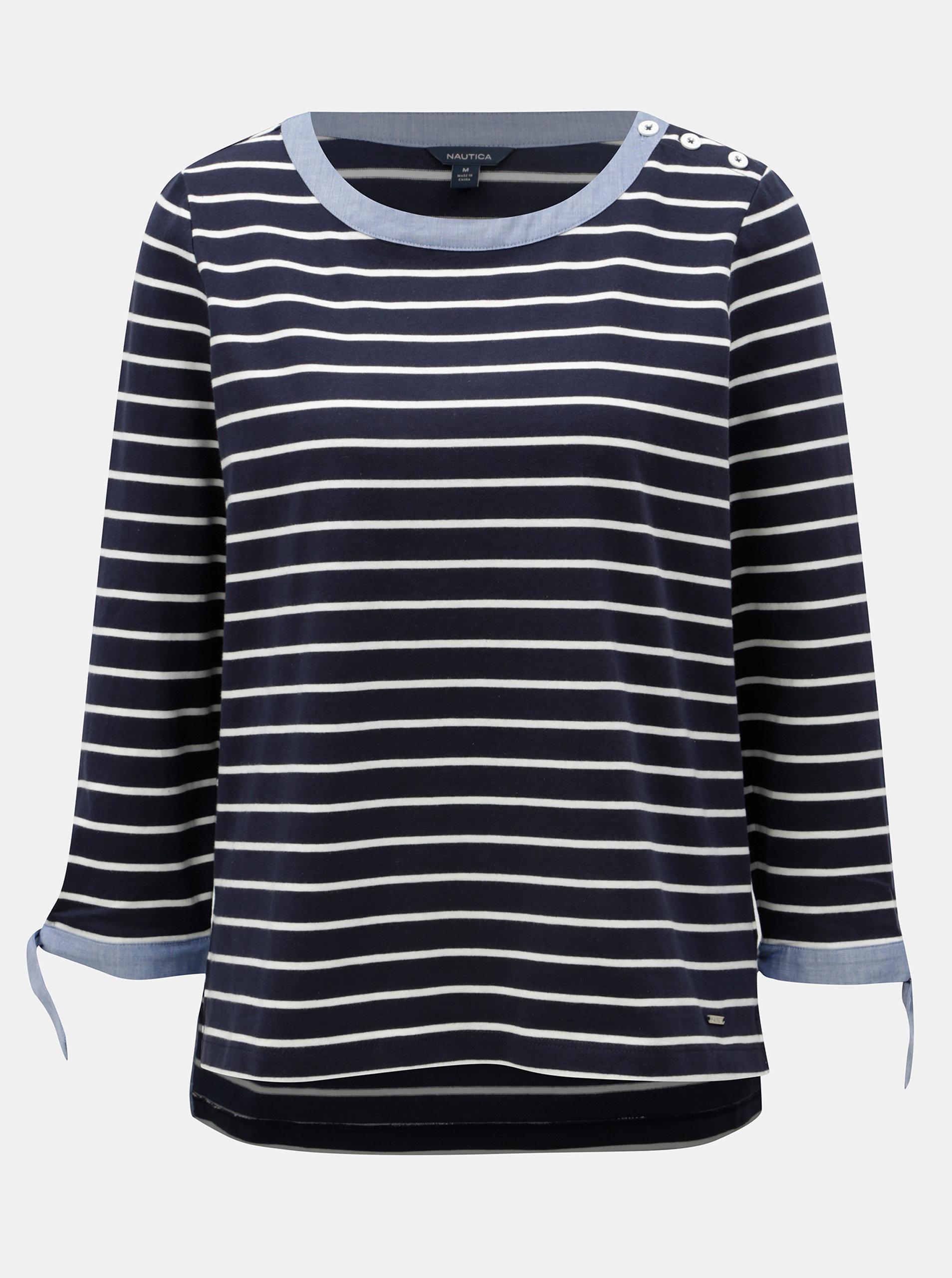 Tmavě modré pruhované tričko Nautica ... e3e2a50200