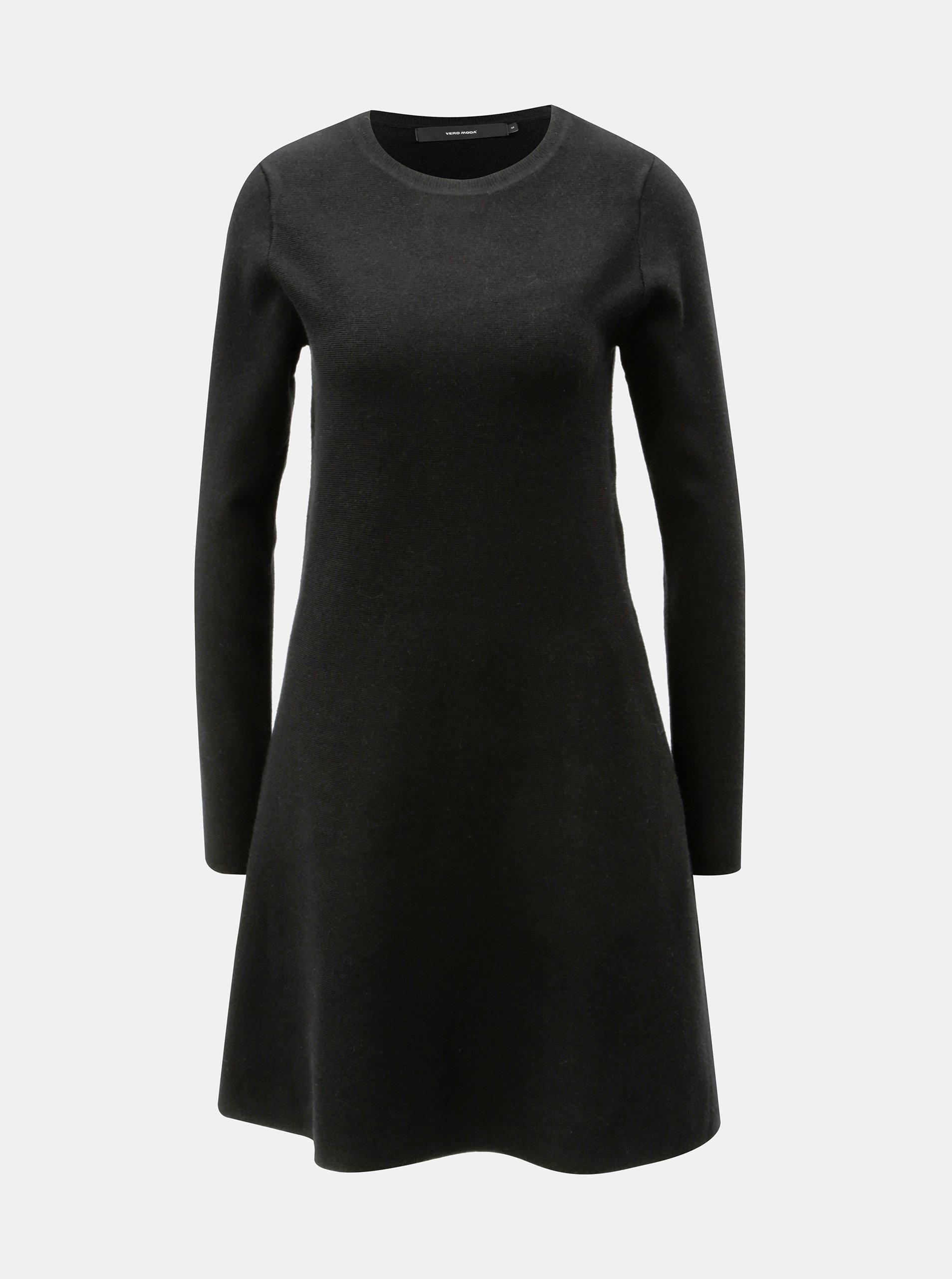 Černé svetrové šaty s dlouhým rukávem VERO MODA Nancy