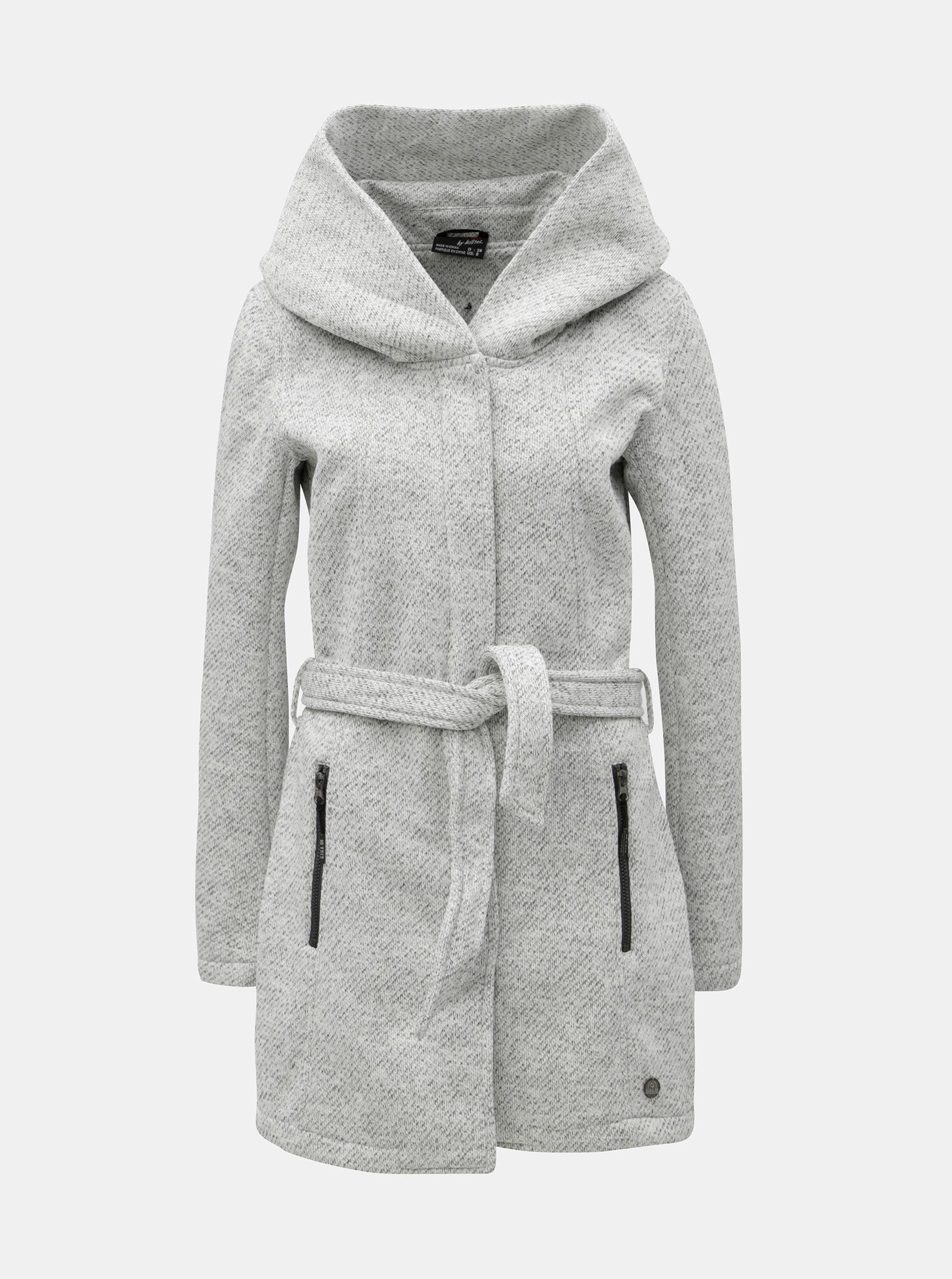 Světle šedý dámský žíhaný kabát s velkou kapucí killtec