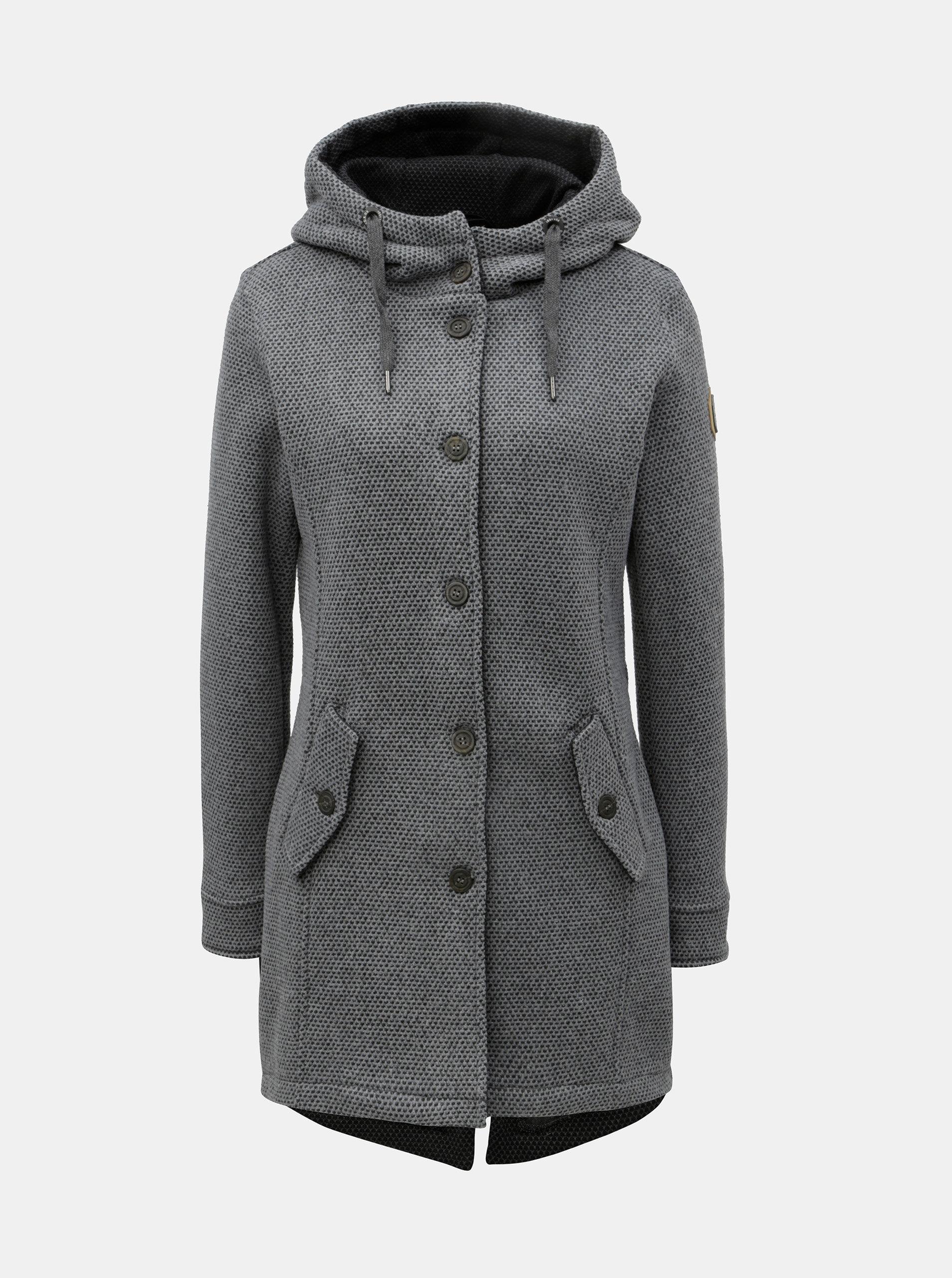 Sivý dámsky melírovaný kabát s veľkou kapucňou killtec ... 470f9e0a2ac