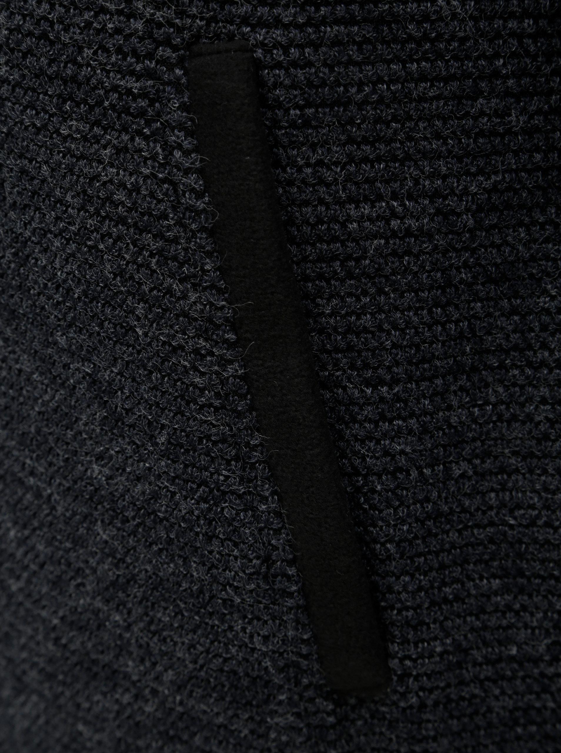 Tmavosivý dámsky melírovaný kabát s rolákom killtec ... 691aa36f594