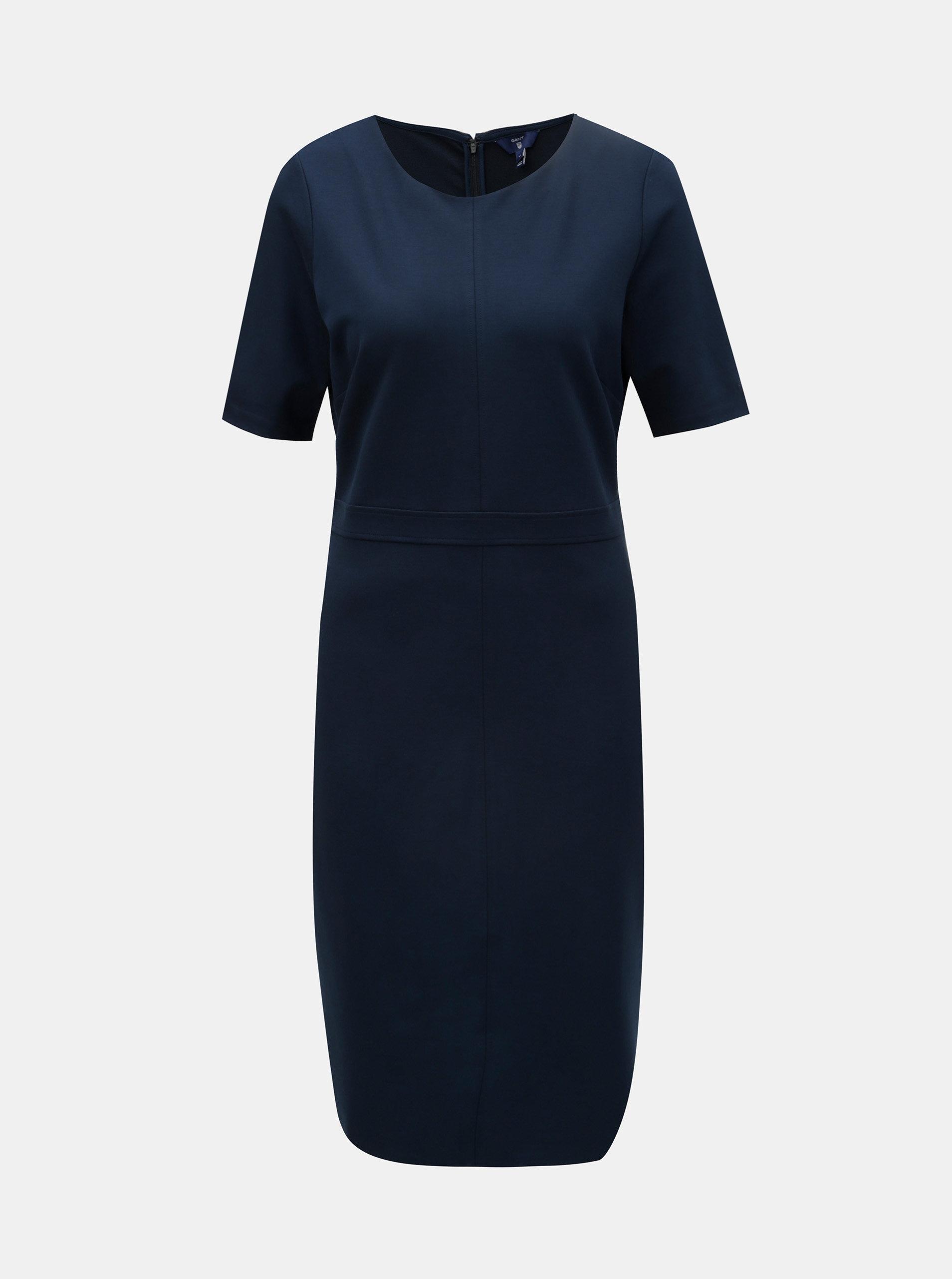 6a229e460d03 Tmavě modré pouzdrové šaty s krátkým rukávem GANT ...