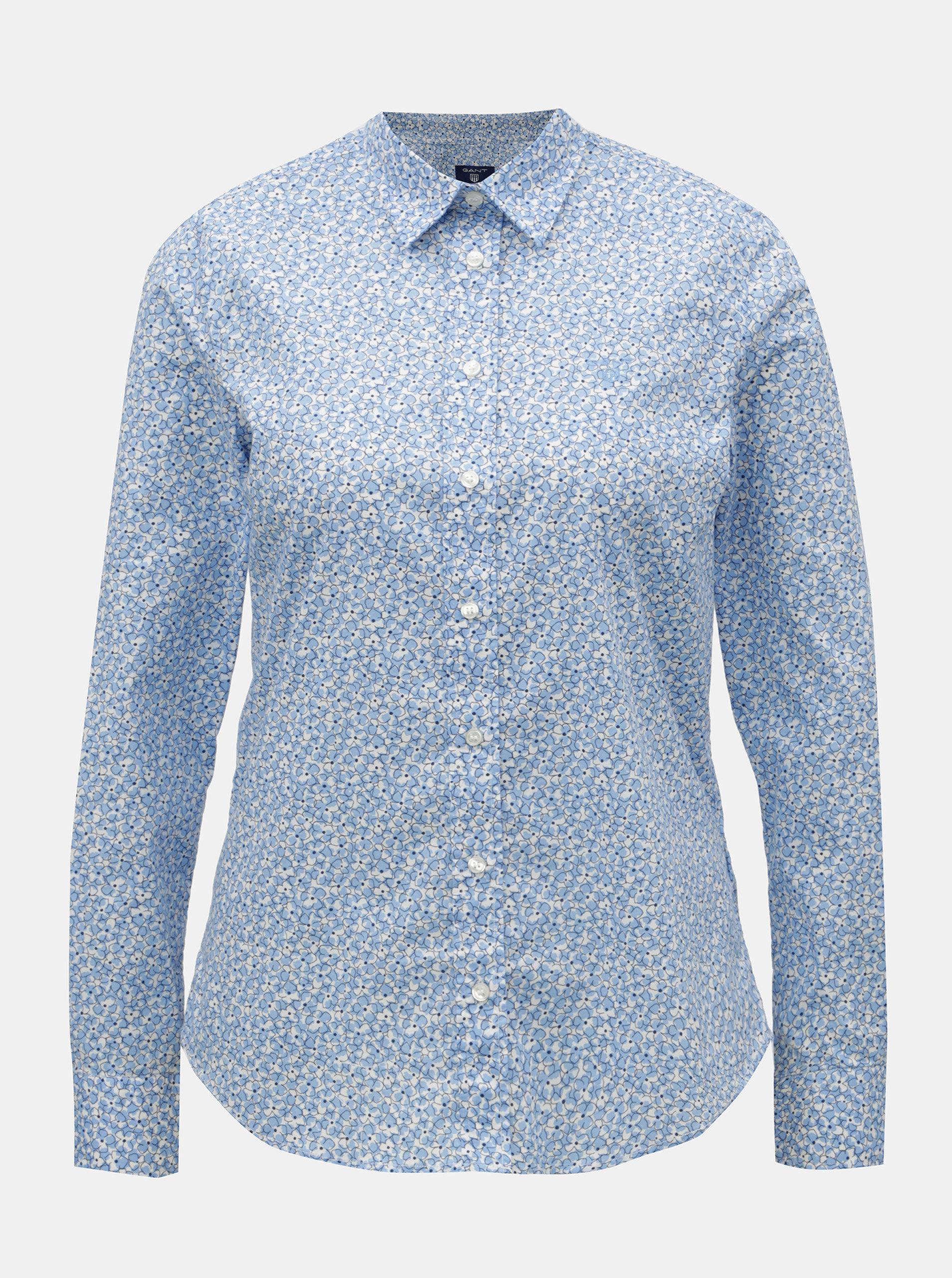 Světle modrá dámská květovaná košile GANT ... a60782da8d