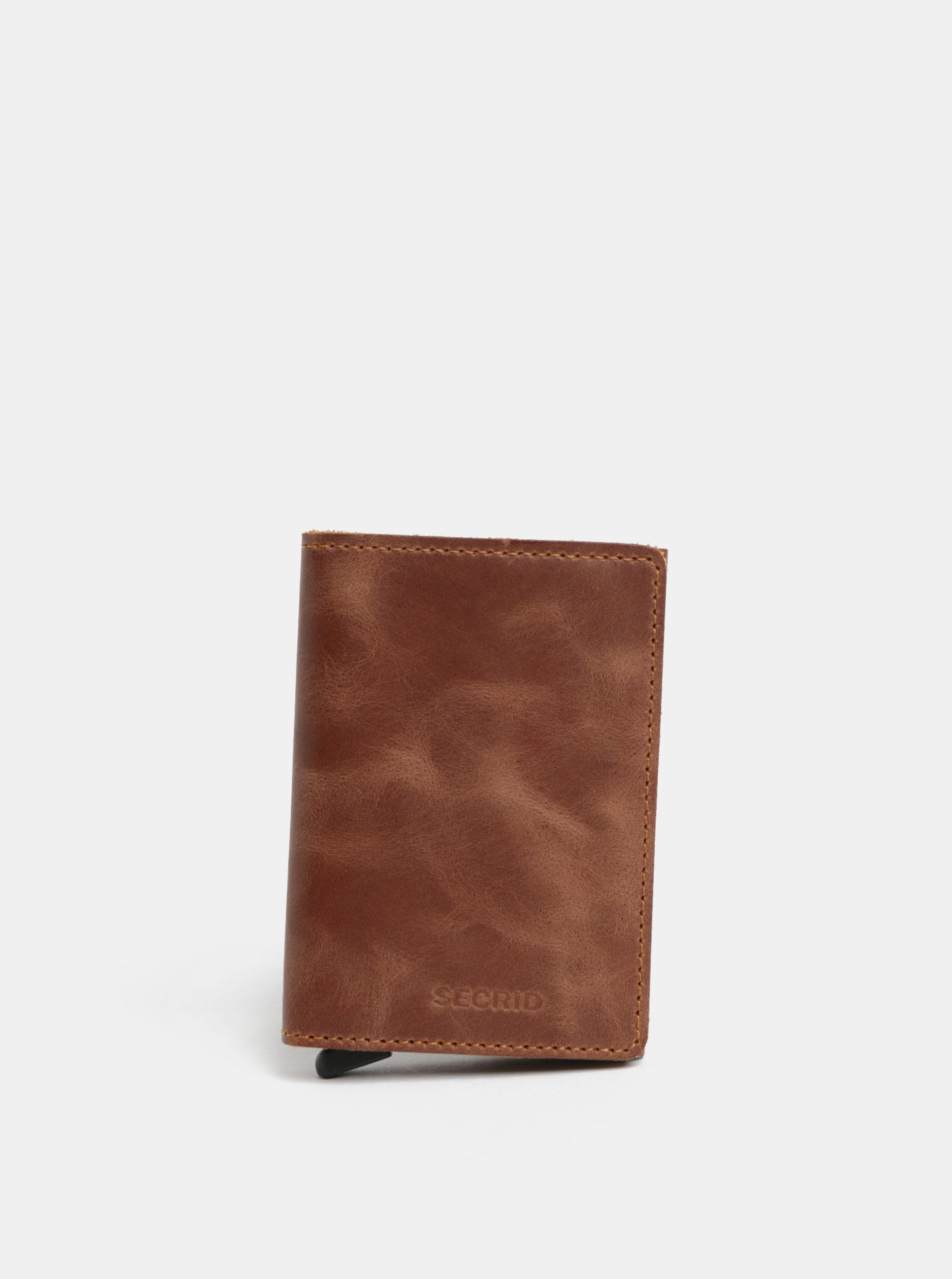 Hnědá pánská kožená peněženka s hliníkovým pouzdrem s RFID Secrid Slimwalet