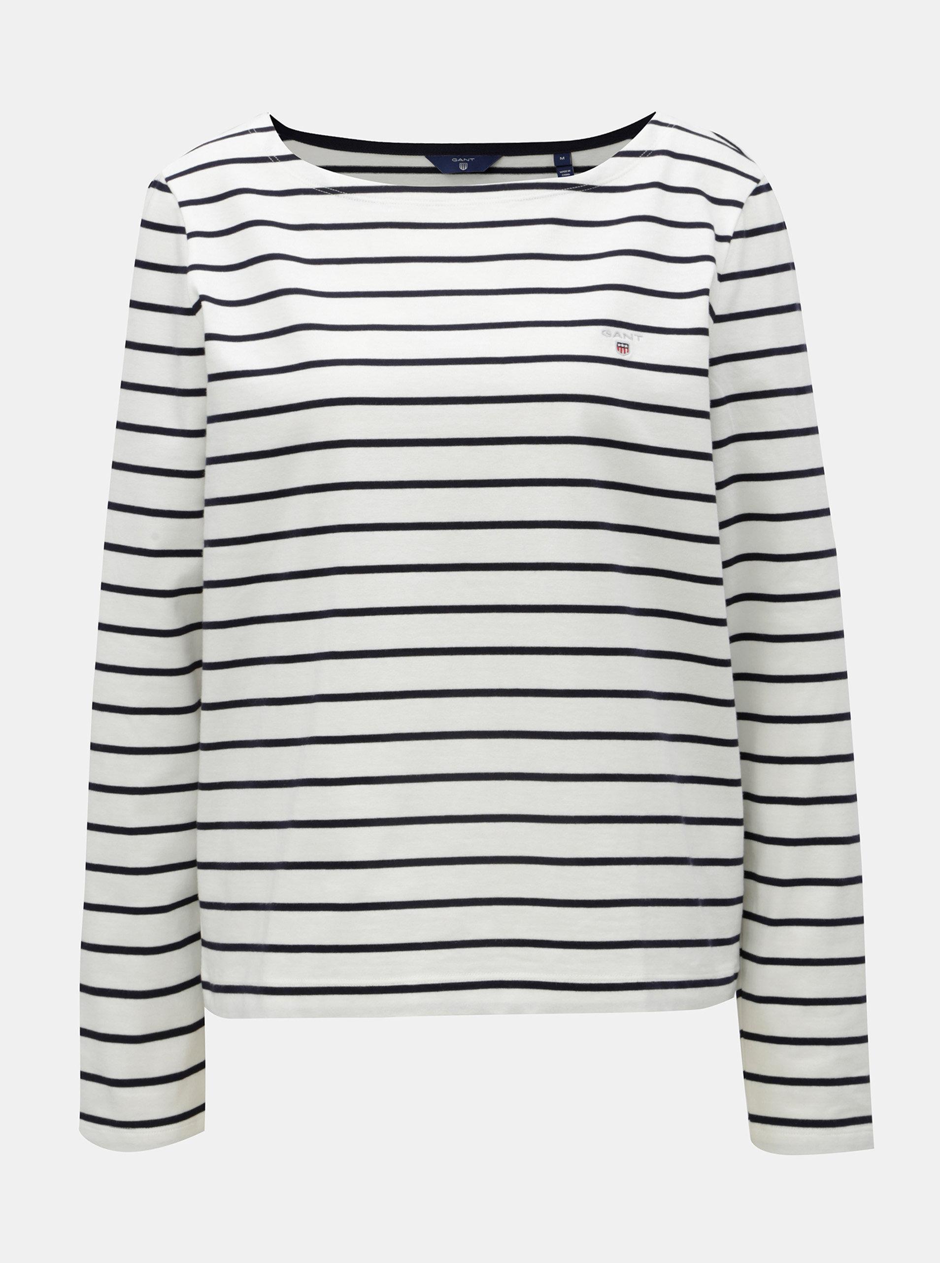 be3cc5d87 Modro-biele dámske pruhované basic tričko s dlhým rukávom GANT | ZOOT.sk