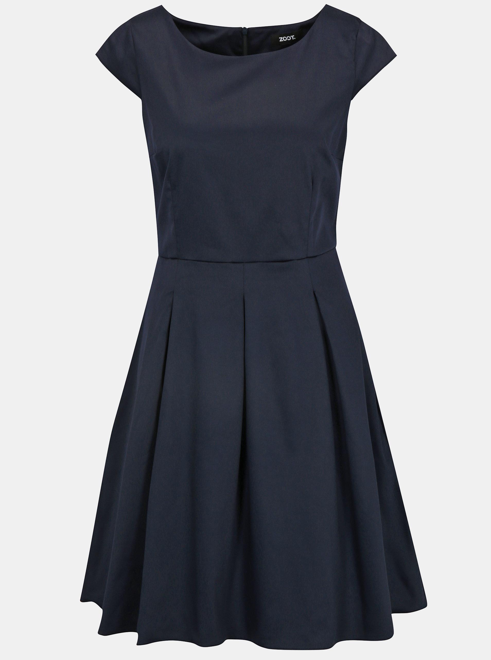 2ca52547c919 Tmavomodré šaty s áčkovou sukňou ZOOT ...