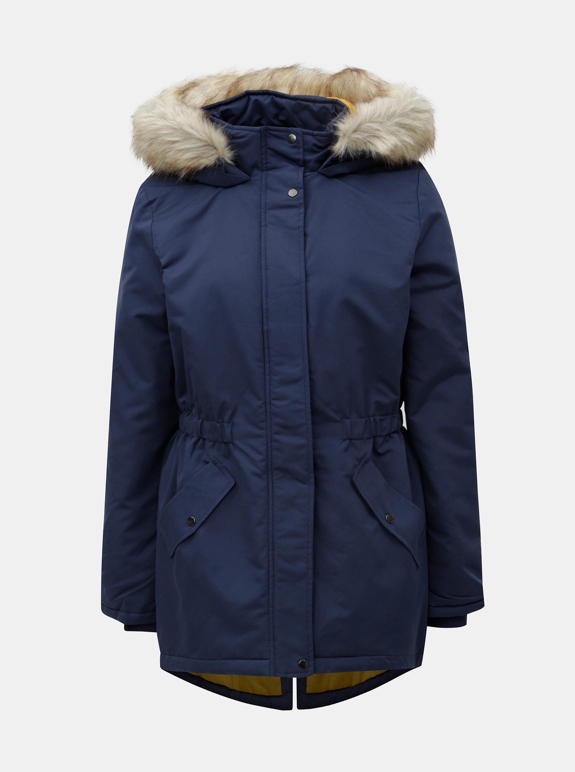 Tmavě modrá dlouhá zimní bunda Jacqueline de Yong Star