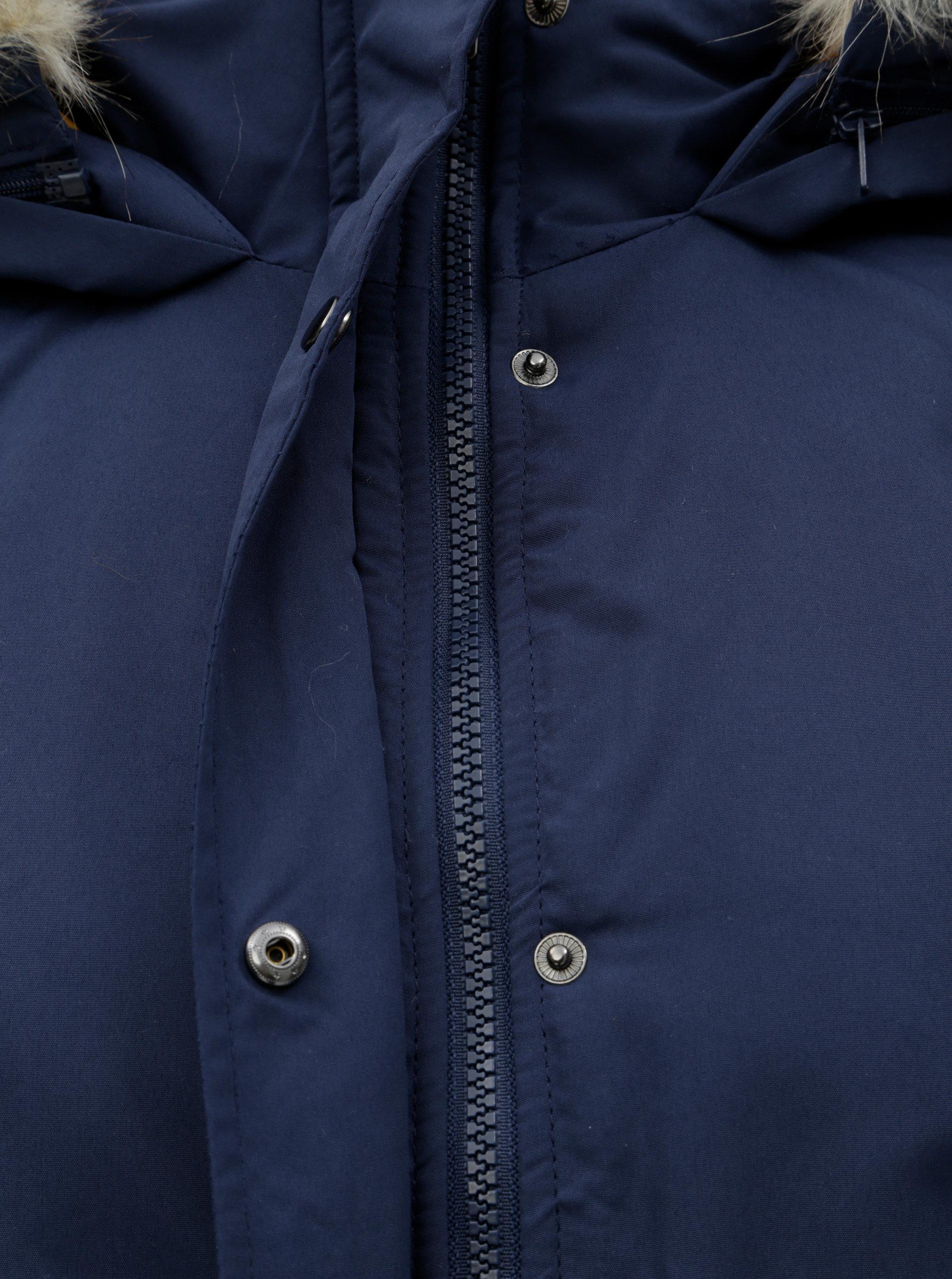 bc292e73dd0e Tmavomodrá dlhá zimná bunda Jacqueline de Yong Star ...