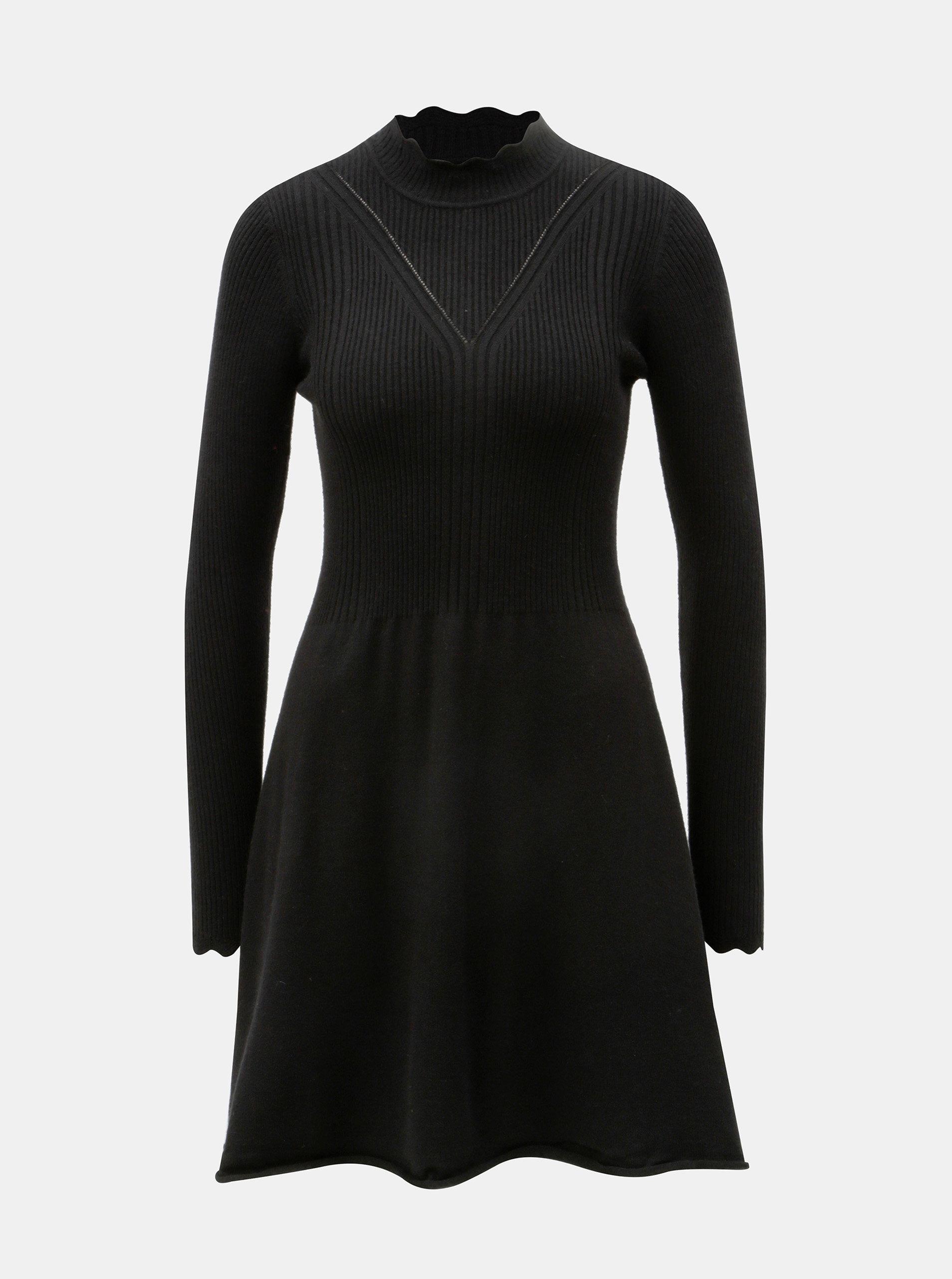 563b8b3102a Černé svetrové šaty se stojáčkem ONLY Sonia ...