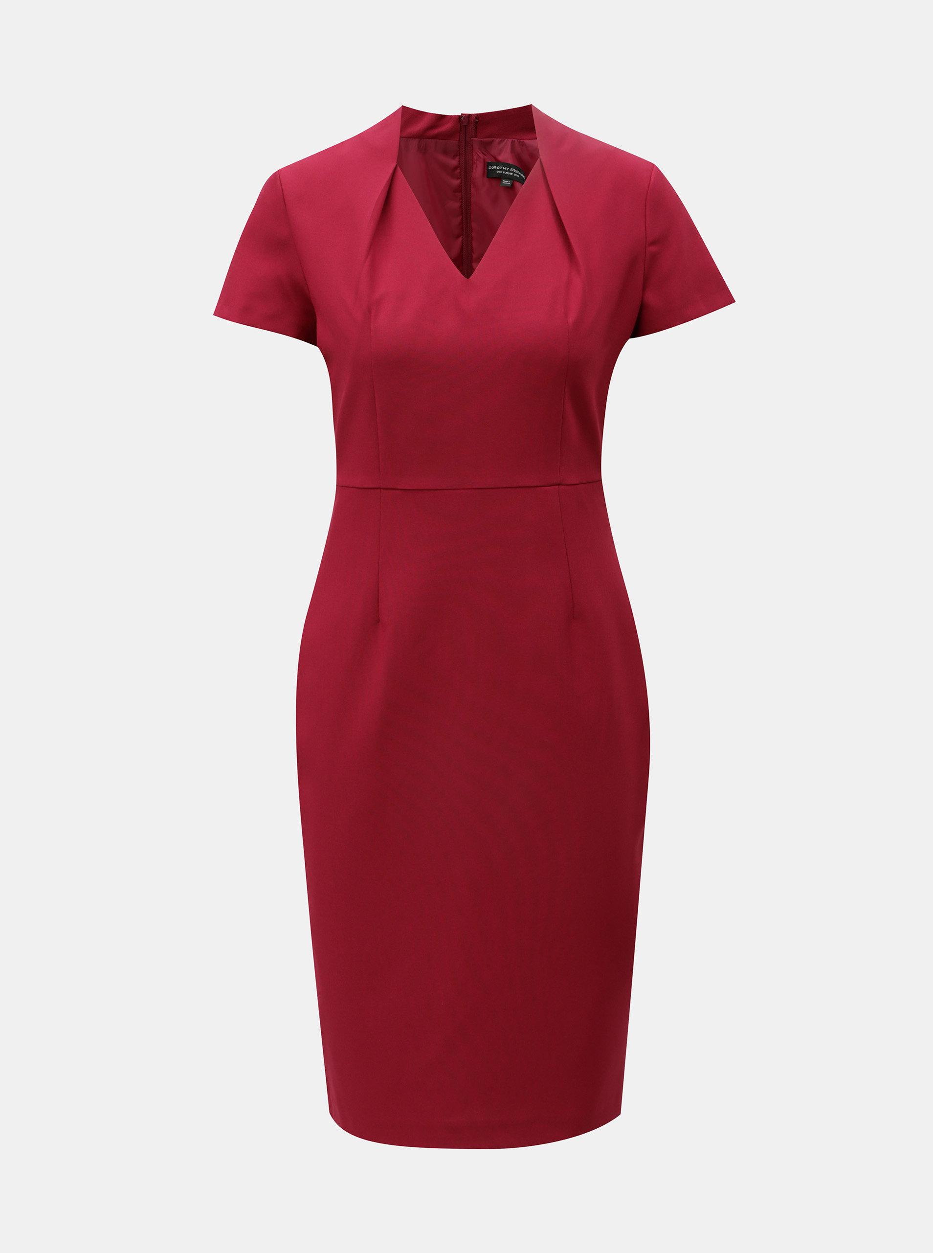 Vínové pouzdrové šaty s krátkým rukávem Dorothy Perkins