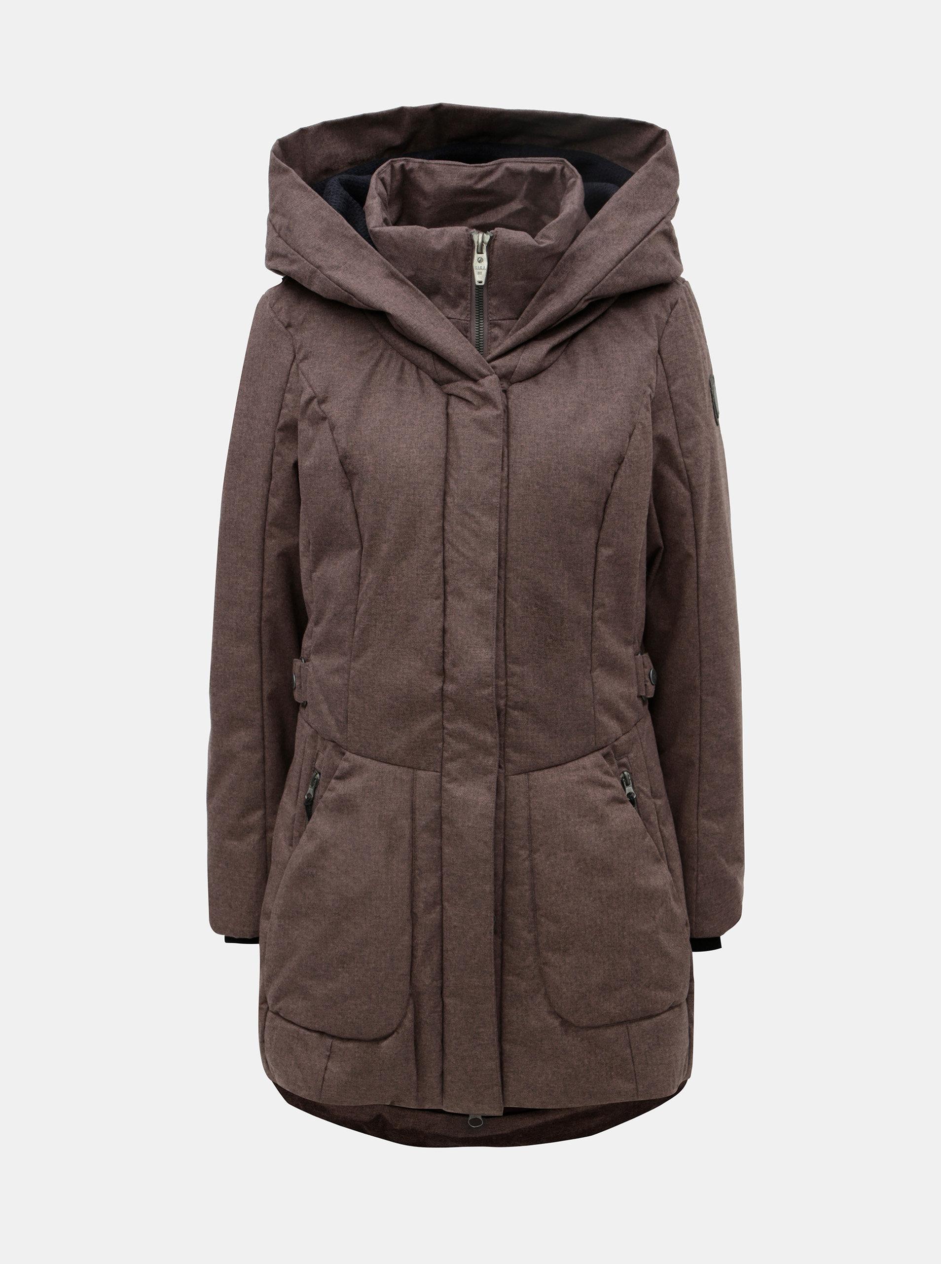 Hnedý dámsky melírovaný nepremokavý kabát killtec ... 056f682bb12