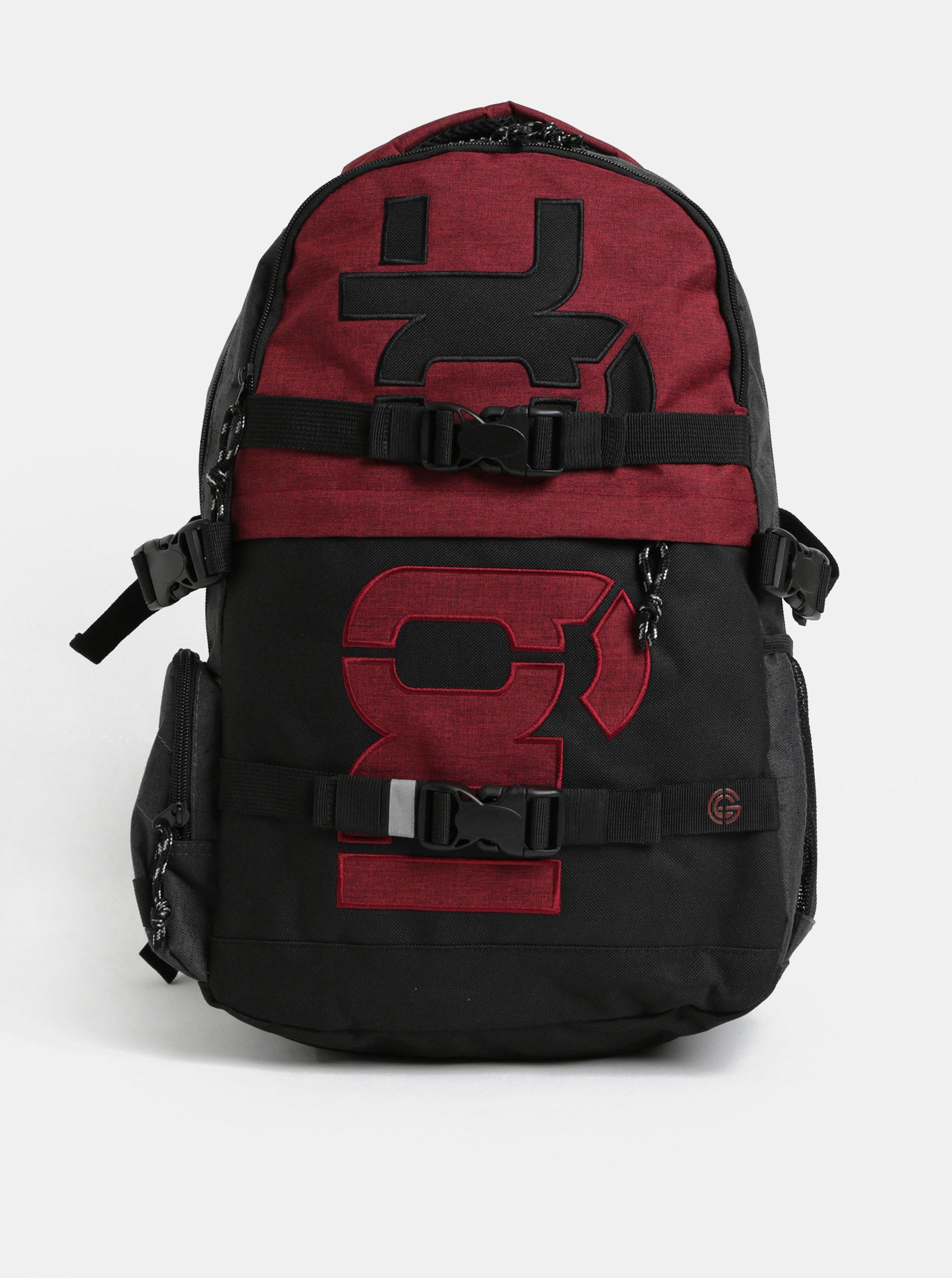Fotografie Červeno-šedý batoh s odnímatelným bederním popruhem a pláštěnkou NUGGET 30 l