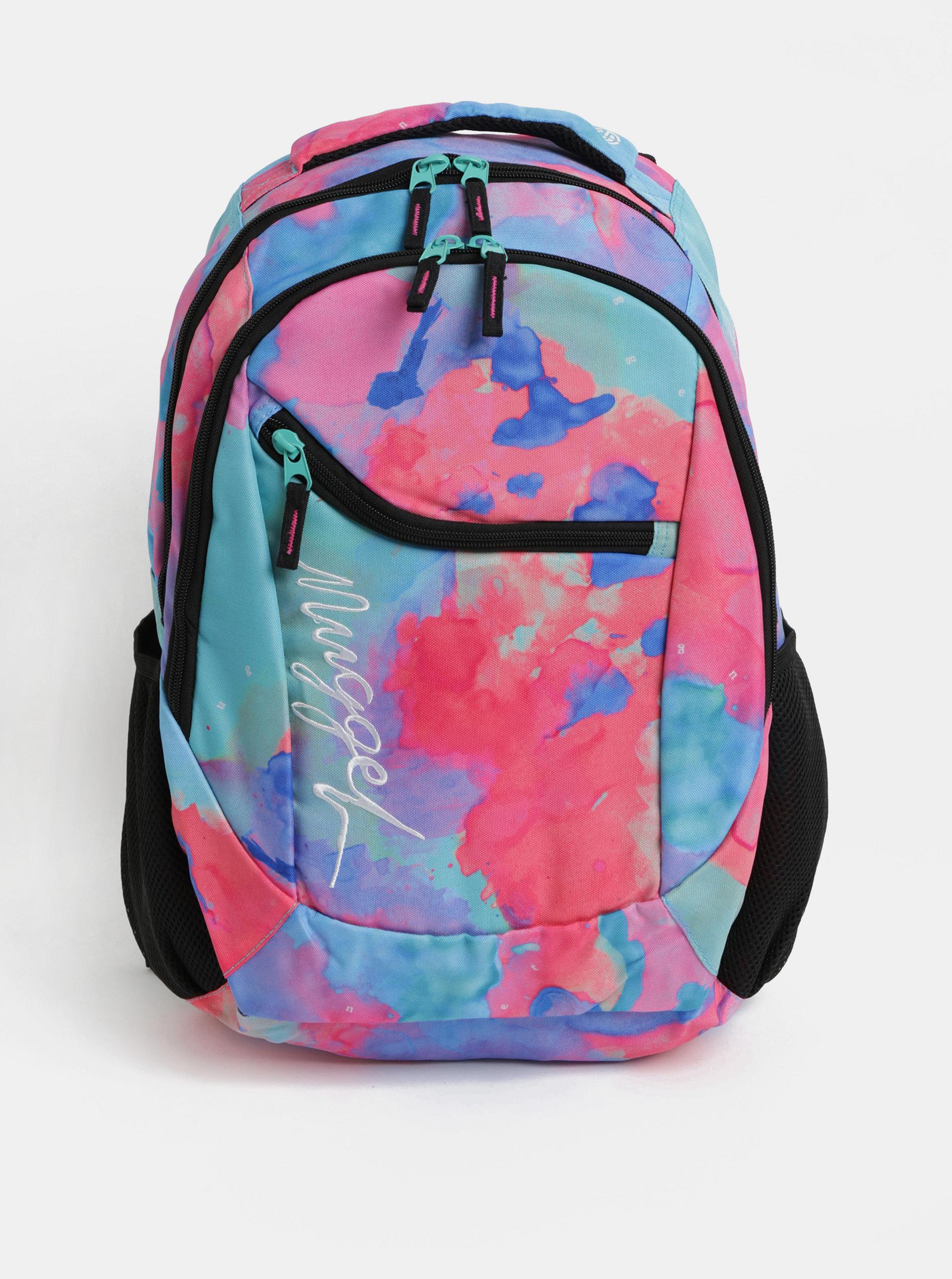 Modro-růžový vzorovaný batoh s výšivkou Nugget 26 l 83a5655eb9