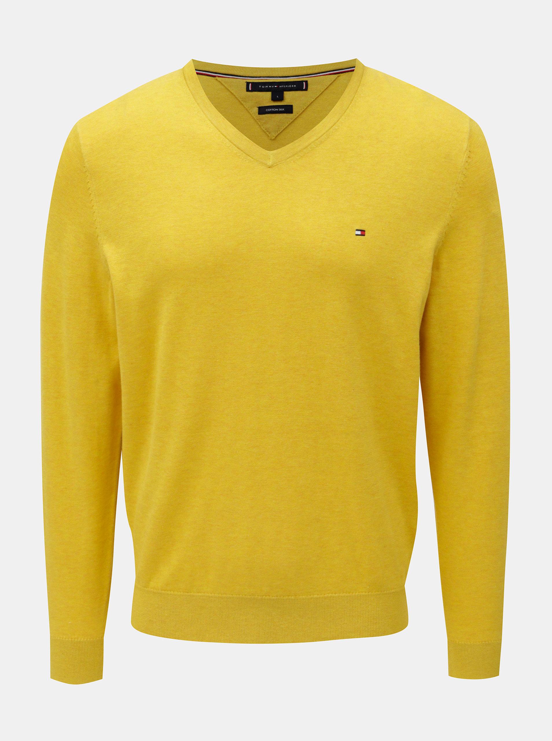 Žltý tenký sveter s prímesou hodvábu Tommy Hilfiger ... dcc4b2f55db