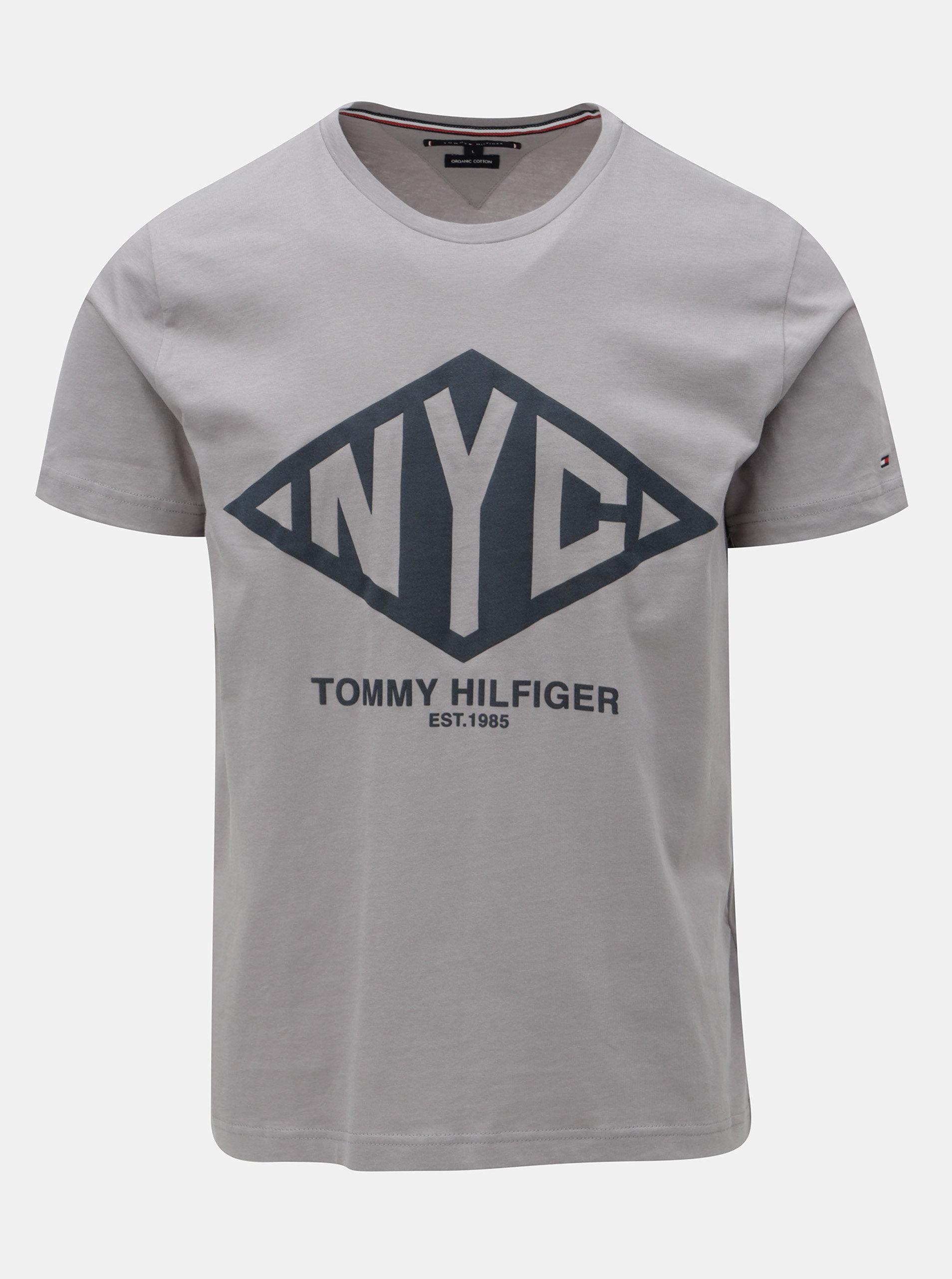 Sivé pánske tričko s potlačou Tommy Hilfiger Shear Tee ... 45d557bd178