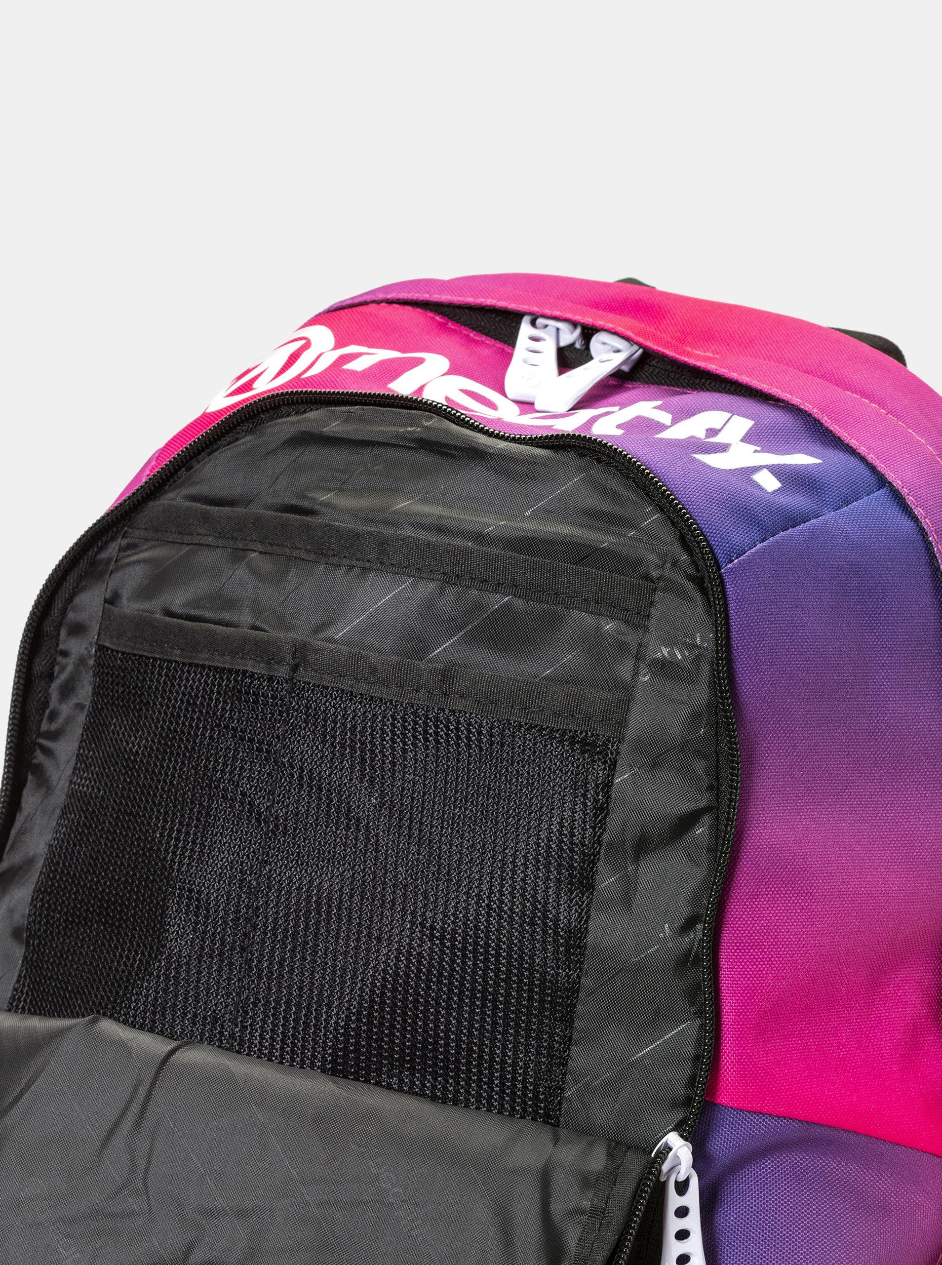 Fialovo-růžový batoh s potiskem a penálem 2v1 Meatfly 20 l ... 23f2aa680d