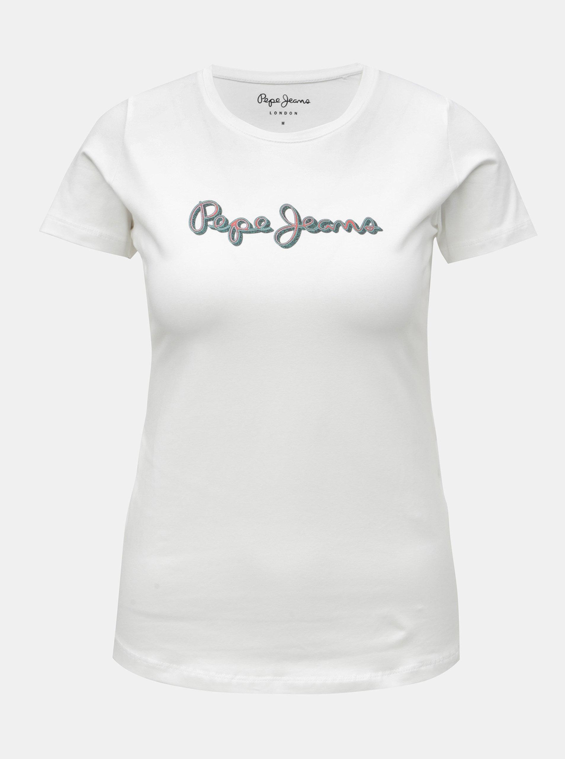 Bílé dámské tričko s třpytivým potiskem Pepe Jeans ... a08244dd76