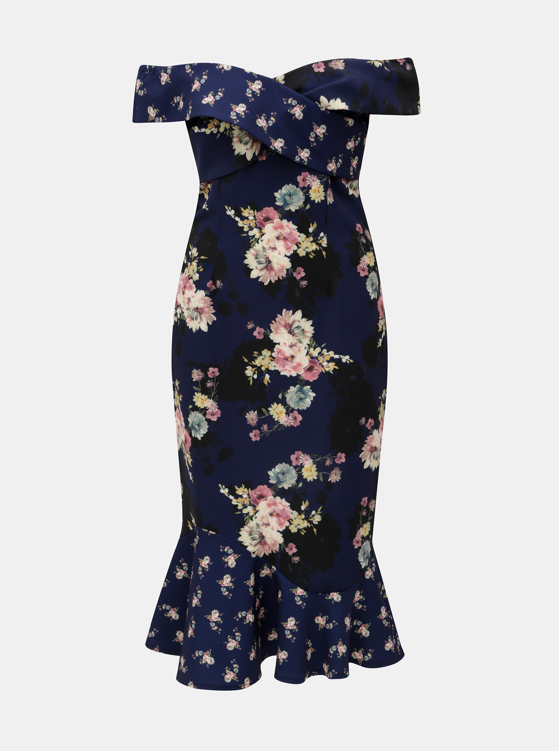 Tmavomodré vzorované šaty s odhalenými ramenami Little Mistress ... 7ab04dd176f