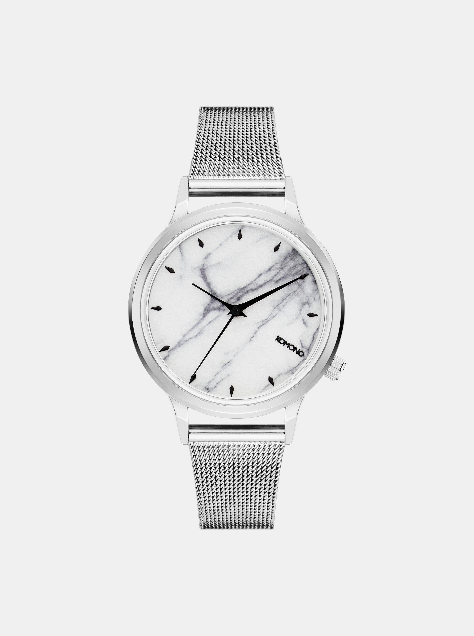30d6bb2adf6 Dámské hodinky s páskem ve stříbrné barvě a mramorovaným ciferníkem Komono  Silver White Marble ...