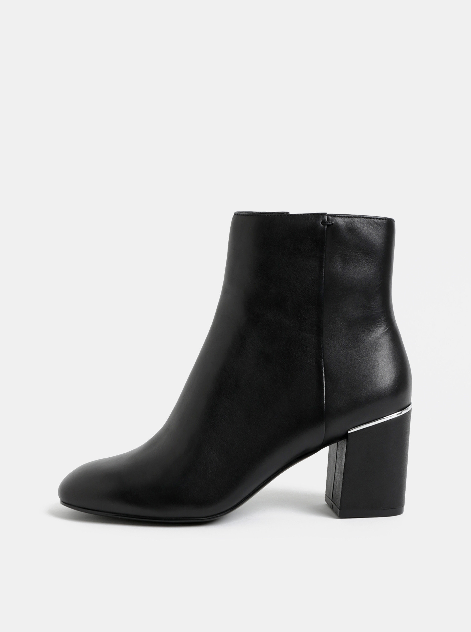 Černé dámské kožené kotníkové boty na podpatku ALDO