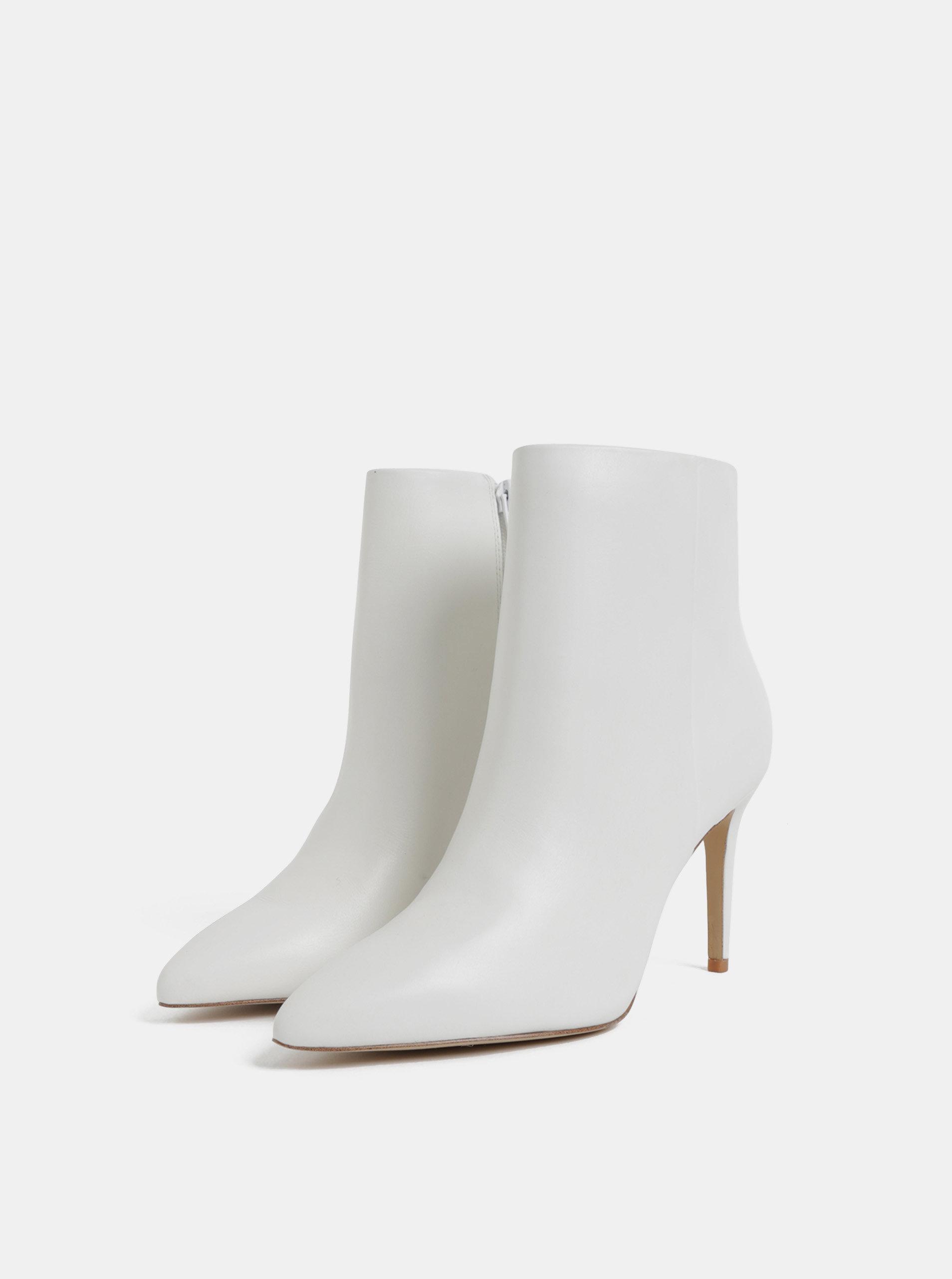 00ca55a32b2 Bílé kožené kotníkové boty na jehlovém podpatku ALDO ...