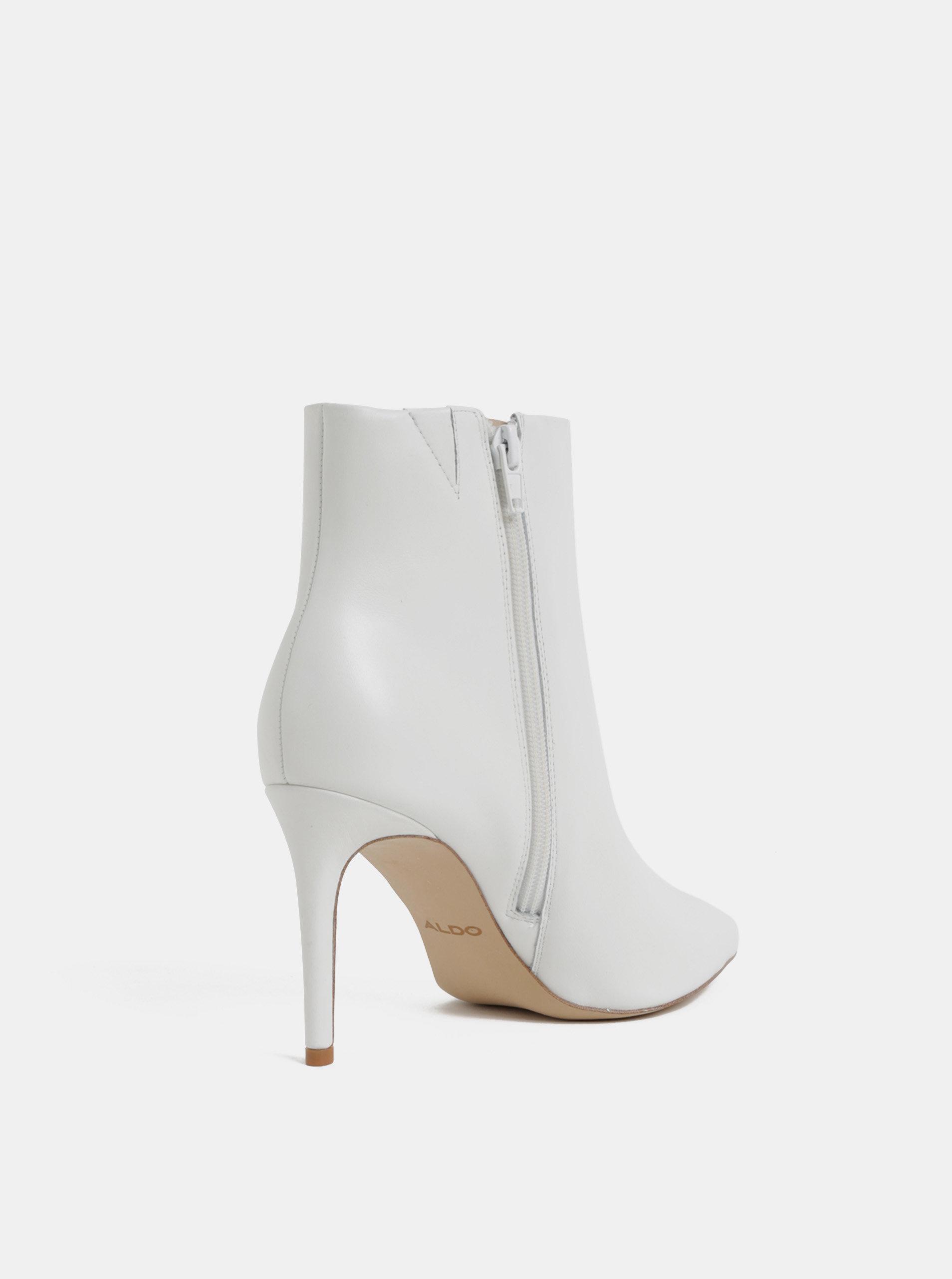 009831a29990 Biele kožené členkové topánky na ihličkovom podpätku ALDO ...