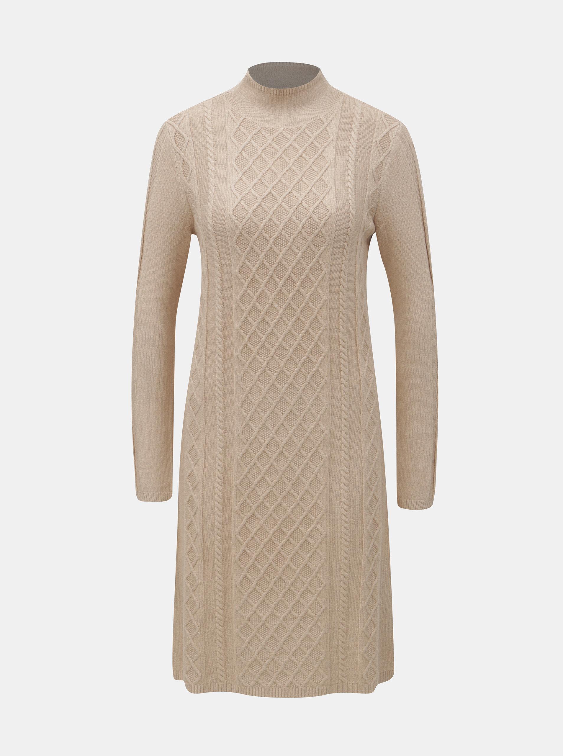 708e18495f01 Béžové svetrové šaty se stojáčkem Yest ...