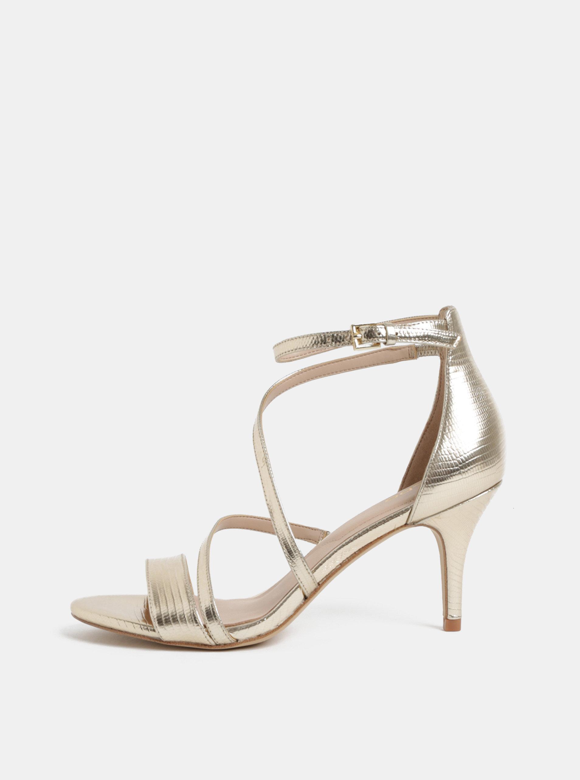 Sandálky ve zlaté barvě na jehlovém podpatku ALDO