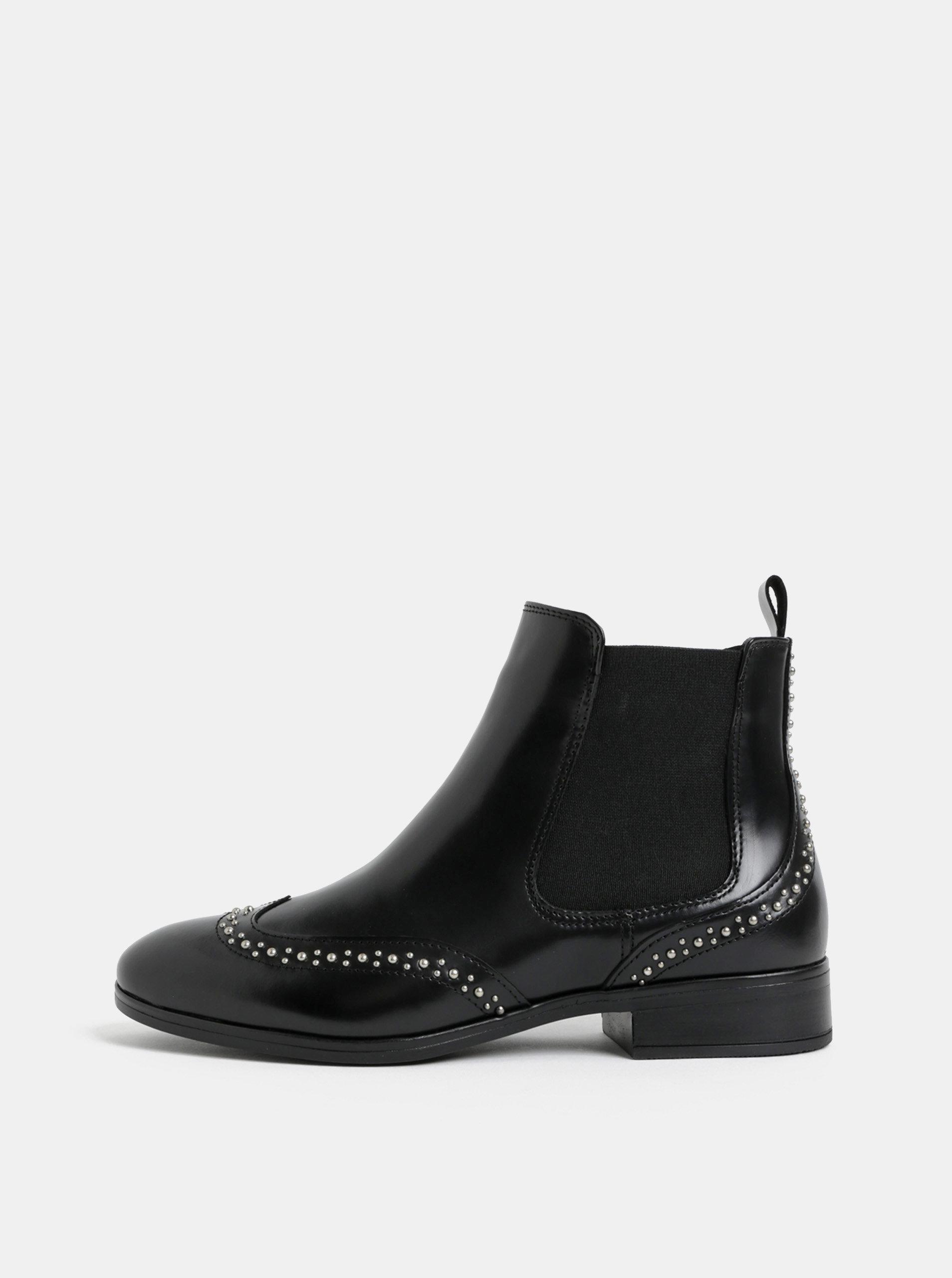 Černé dámské kožené chelsea boty s kovovou aplikací ALDO